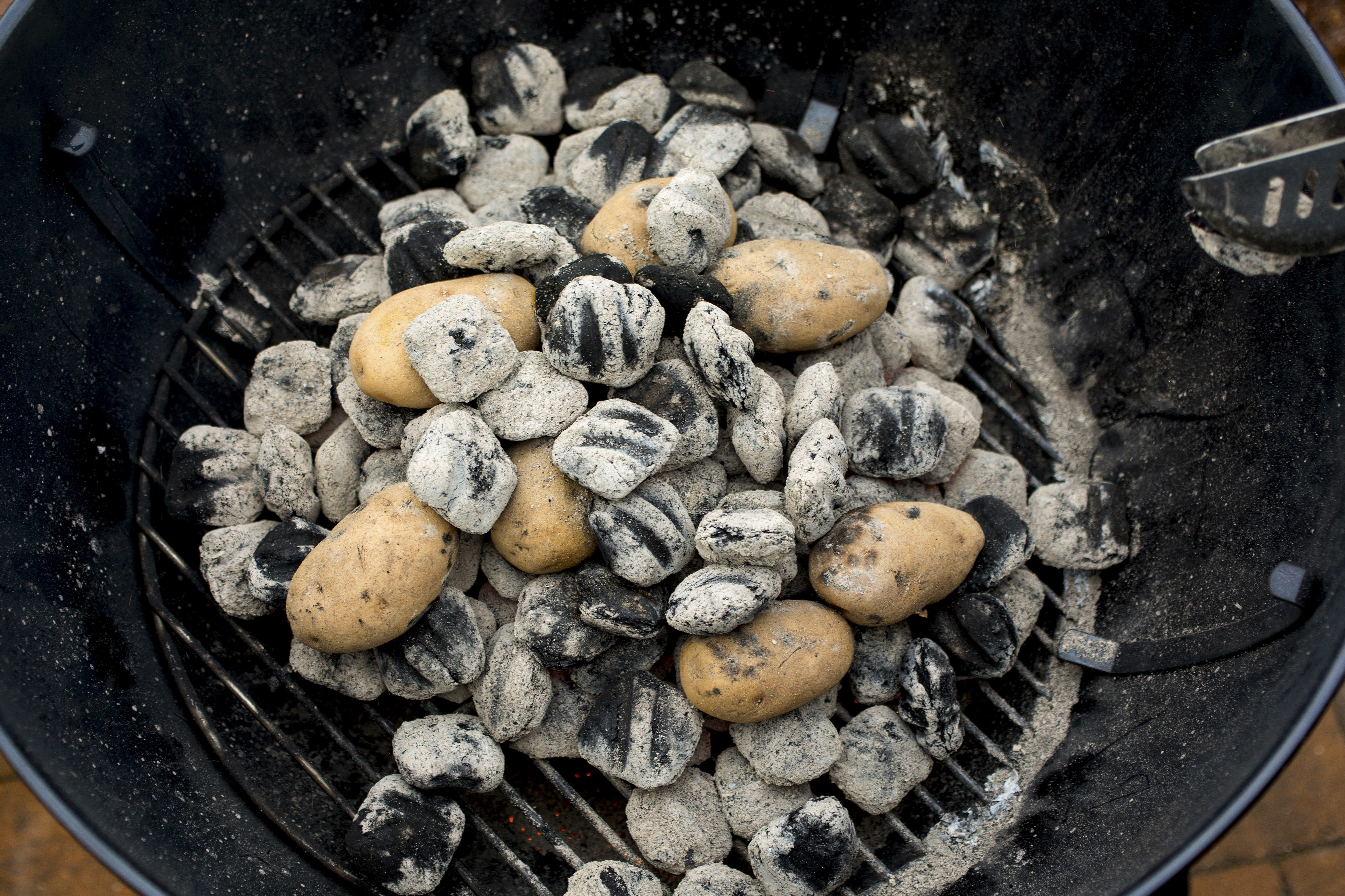 Fire-roasted potatoes are placed directly on hot coals, with some of the charcoal then placed right on top of the tubers. Roasting potatoes in the ashes is a long-standing practice that became prevalent in New York during the Depression.
