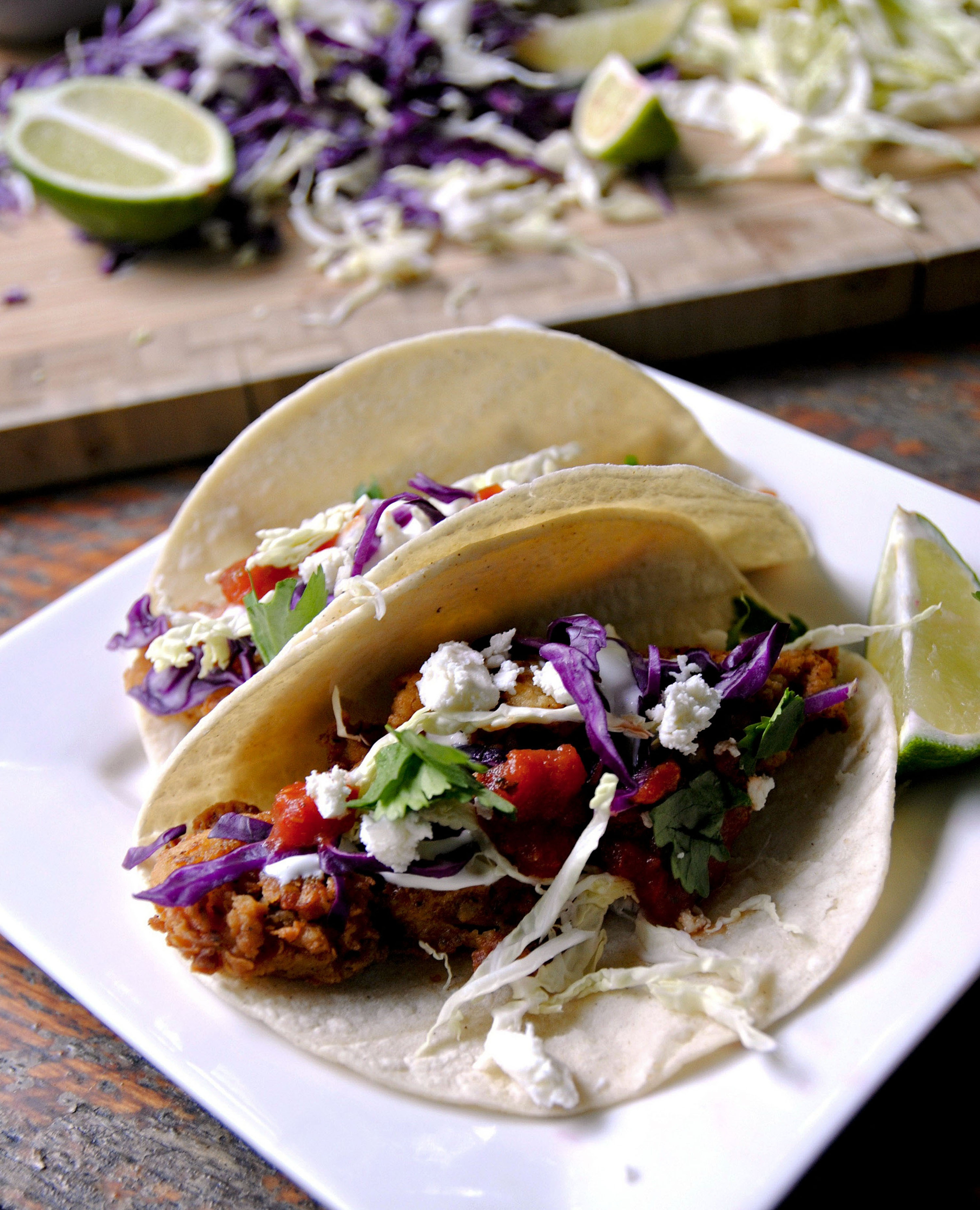Mexican Lime Chicken Fried Tacos are a more tasty alternative to the traditional taco kit dinner. Marinate the chicken strips for a few hours before frying.