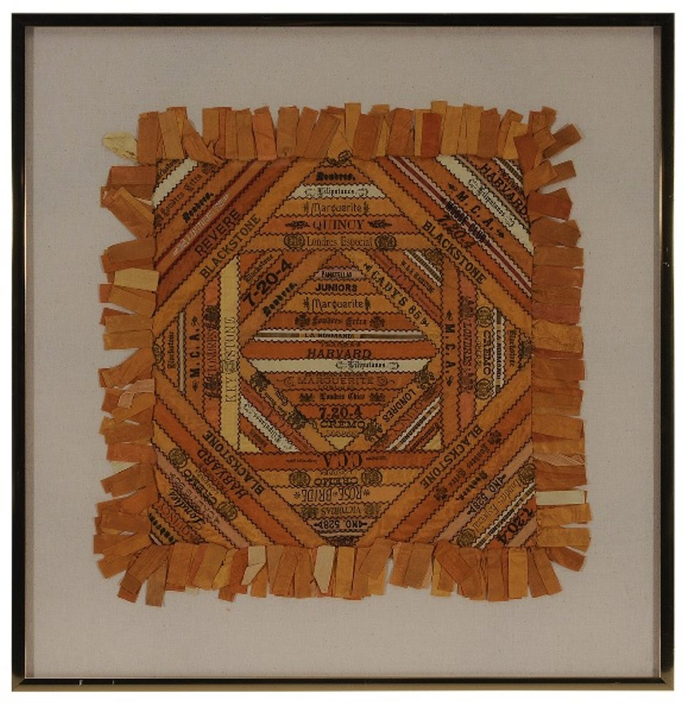 Someone in the family was a heavy smoker. This panel is made of nearly 100 19th-century silk cigar bands. The seamstress may have started to make a quilt, but settled for this 23-inch square panel. It sold in March 2015 for $1,200 at a Brunk auction in Asheville, N.C.