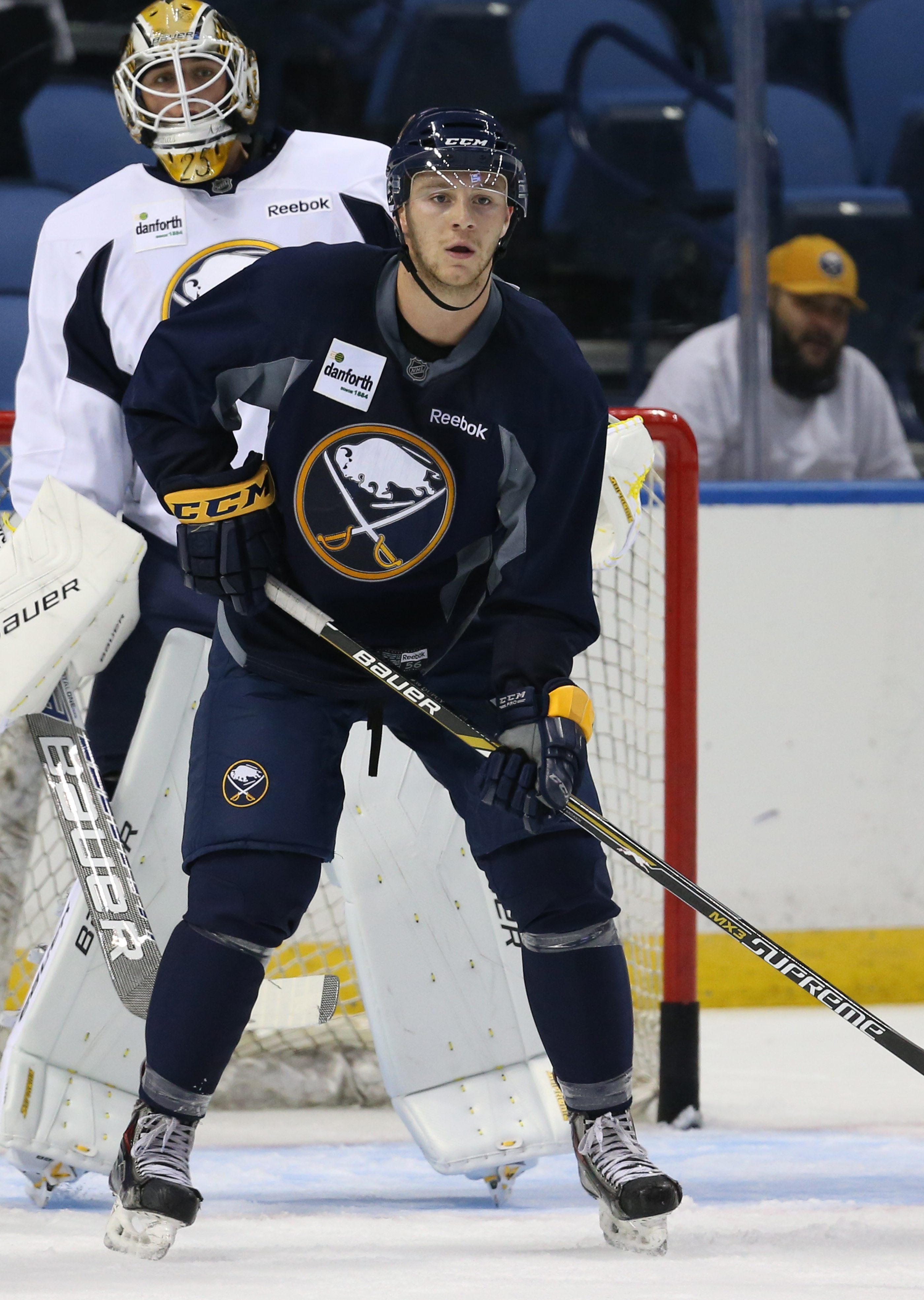 Forward Jean Dupuy, skating at Sabres Development Camp, will likely open the season with the Rochester Americans.