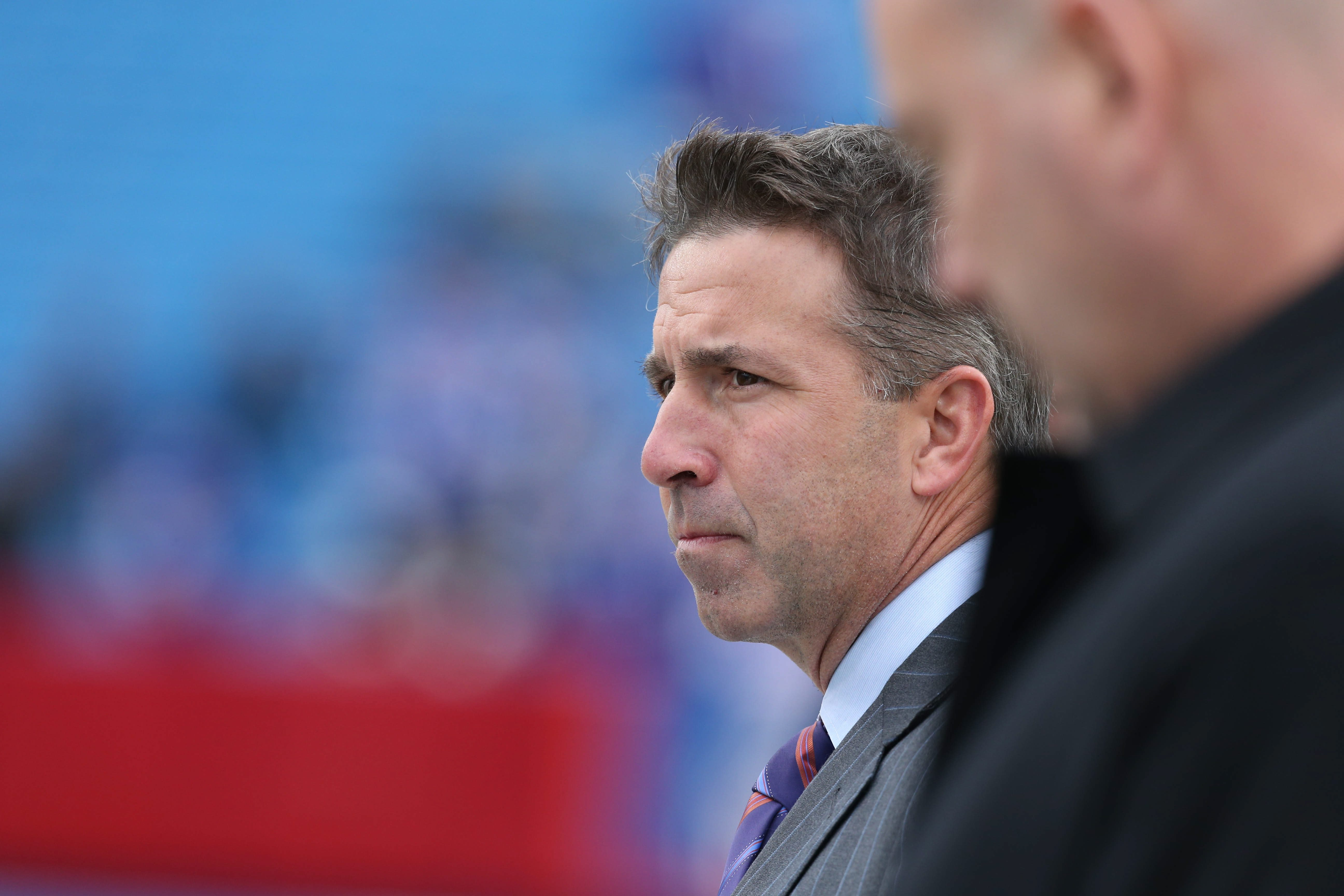 Buffalo Bills president Russ Brandon watches from the sidelines before the game at Ralph Wilson Stadium on Sunday, Nov. 30, 2014.  (James P. McCoy/Buffalo News)