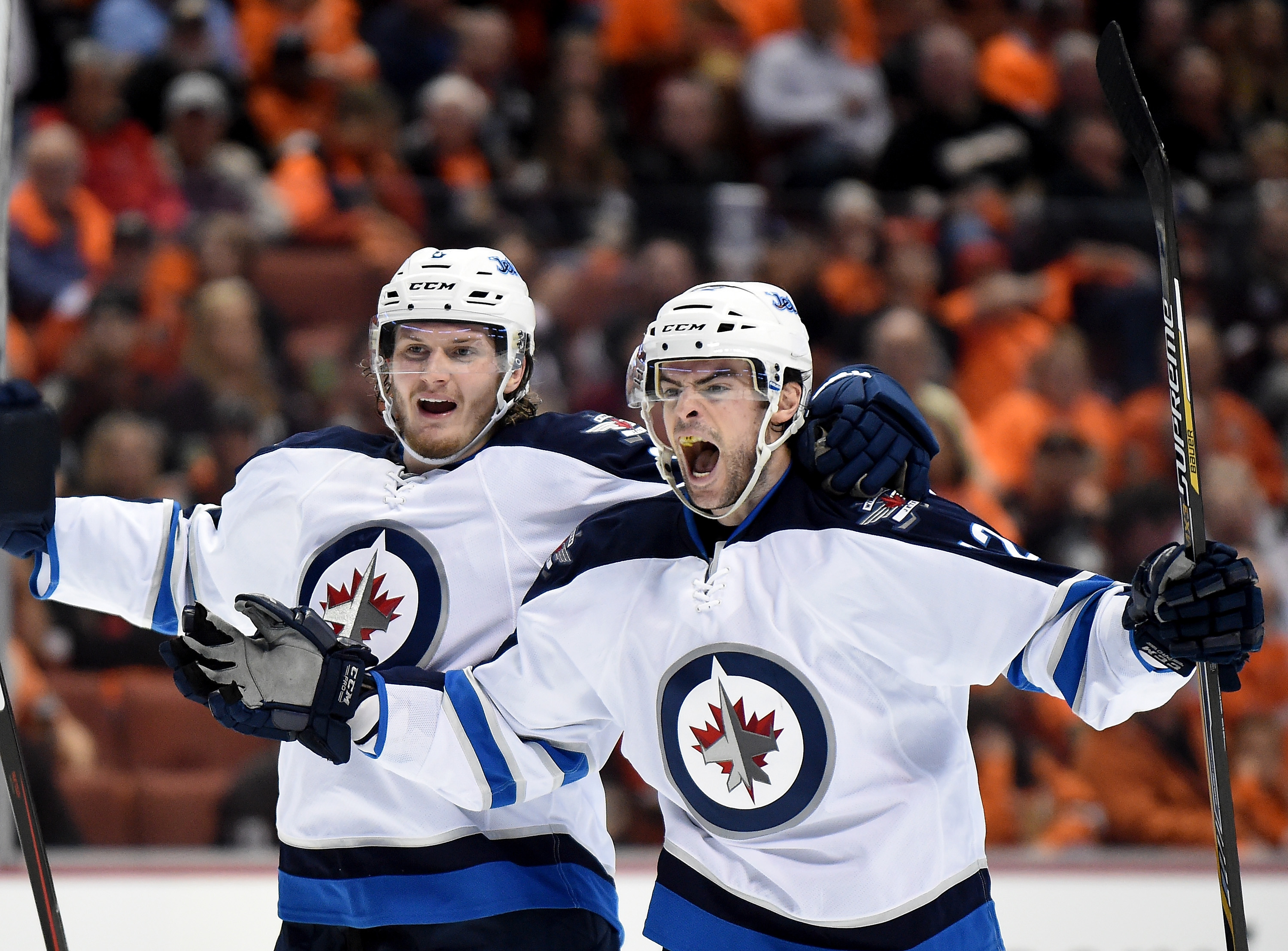 Drew Stafford was pumped to score a goal for the Jets in their playoff series with Anaheim (Getty Images).