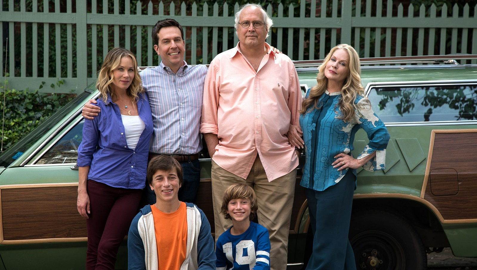 From left to right, Christina Applegate as Debbie Griswold, Skyler Gisondo as James Griswold, Ed Helms as Rusty Griswold, Steele Stebbins as Kevin Griswold, Chevy Chase as Clark Griswold and Beverly D'Angelo as Ellen Griswold in New Line Cinema's comedy 'Vacation,' a Warner Bros. Pictures release.