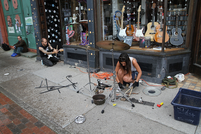 Musicians set up outside the Antique Man shop in Allentown during the 2013 Buffalo Infringement Festival. The spot remains a popular busking location during the festival. (Photo from flickr.com/groups/infringebuffalo)
