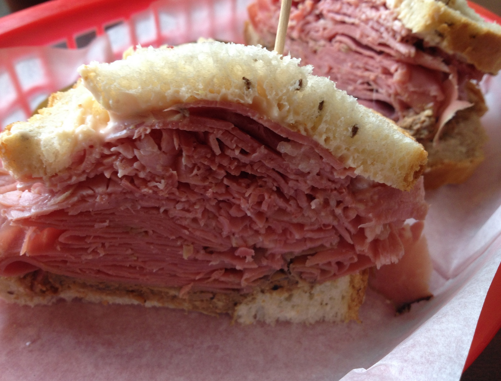 Risa's pastrami and chopped liver on rye (Andrew Galarneau/Buffalo News)
