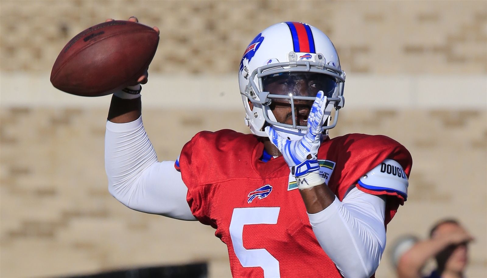 Tyrod Taylor has not played into the hype at practice as he prepares to be the No. 1 quarterback against Cleveland on Thursday. (Harry Scull Jr./Buffalo News)
