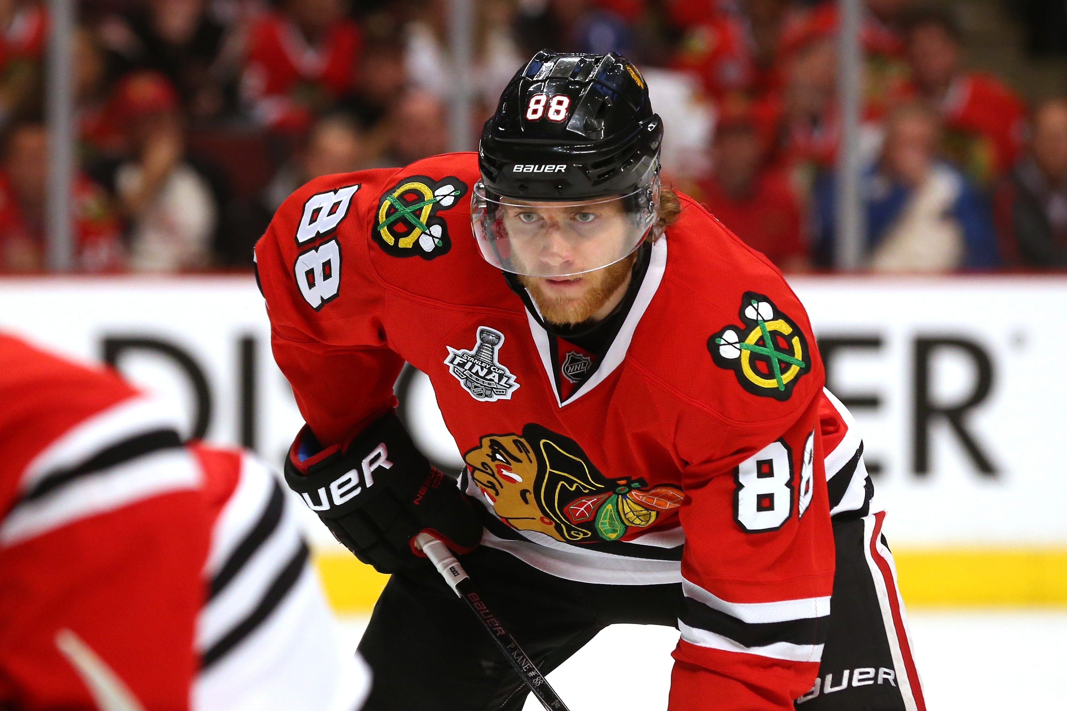 Patrick Kane of the Chicago Blackhawks looks on against the Tampa Bay Lightning during Game Three of the 2015 NHL Stanley Cup Final at the United Center on June 8 in Chicago.
