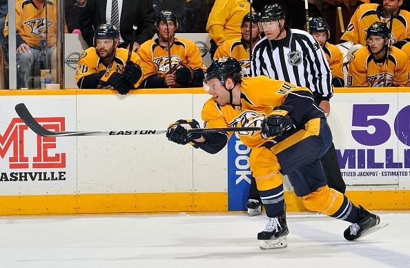 Cody Franson fires a shot for the Predators during the Sabres' visit to Nashville in March (Getty Images).