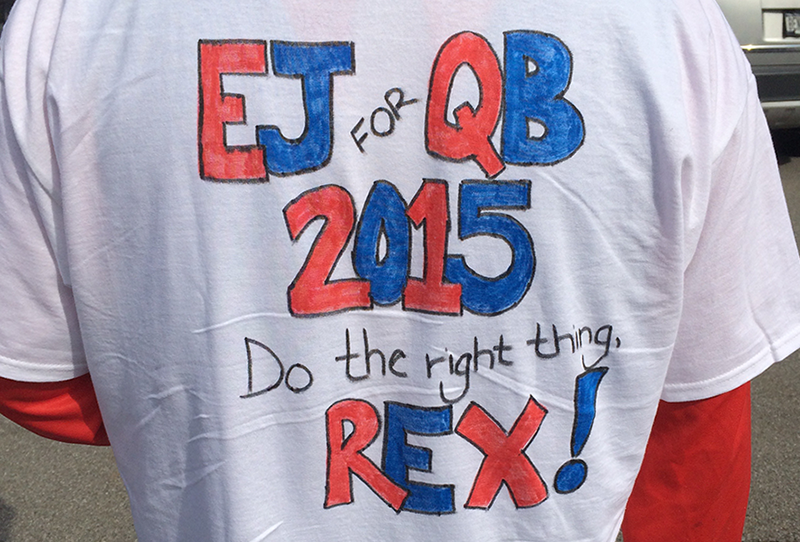 Justin Roberts of Bradford, Pa. had a message for coach Rex Ryan on his shirt (Nick Veronica/Special to the News)