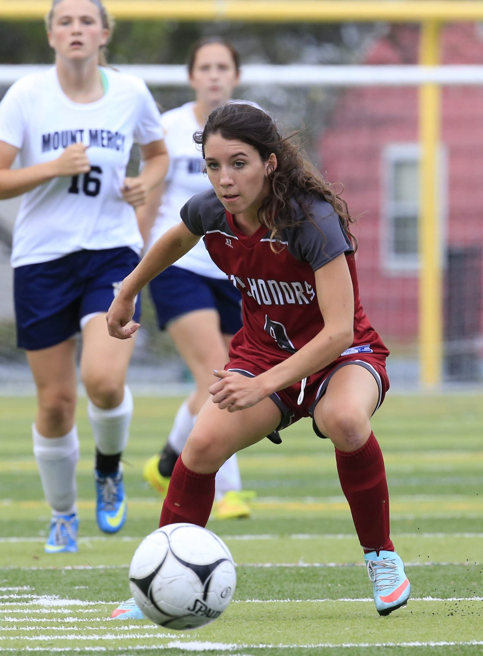 City Honors soccer player Molly Petrucci in action against Mount Mercy at Mulroy Park  on Friday, Sept. 18, 2015.  (Harry Scull Jr./Buffalo News)