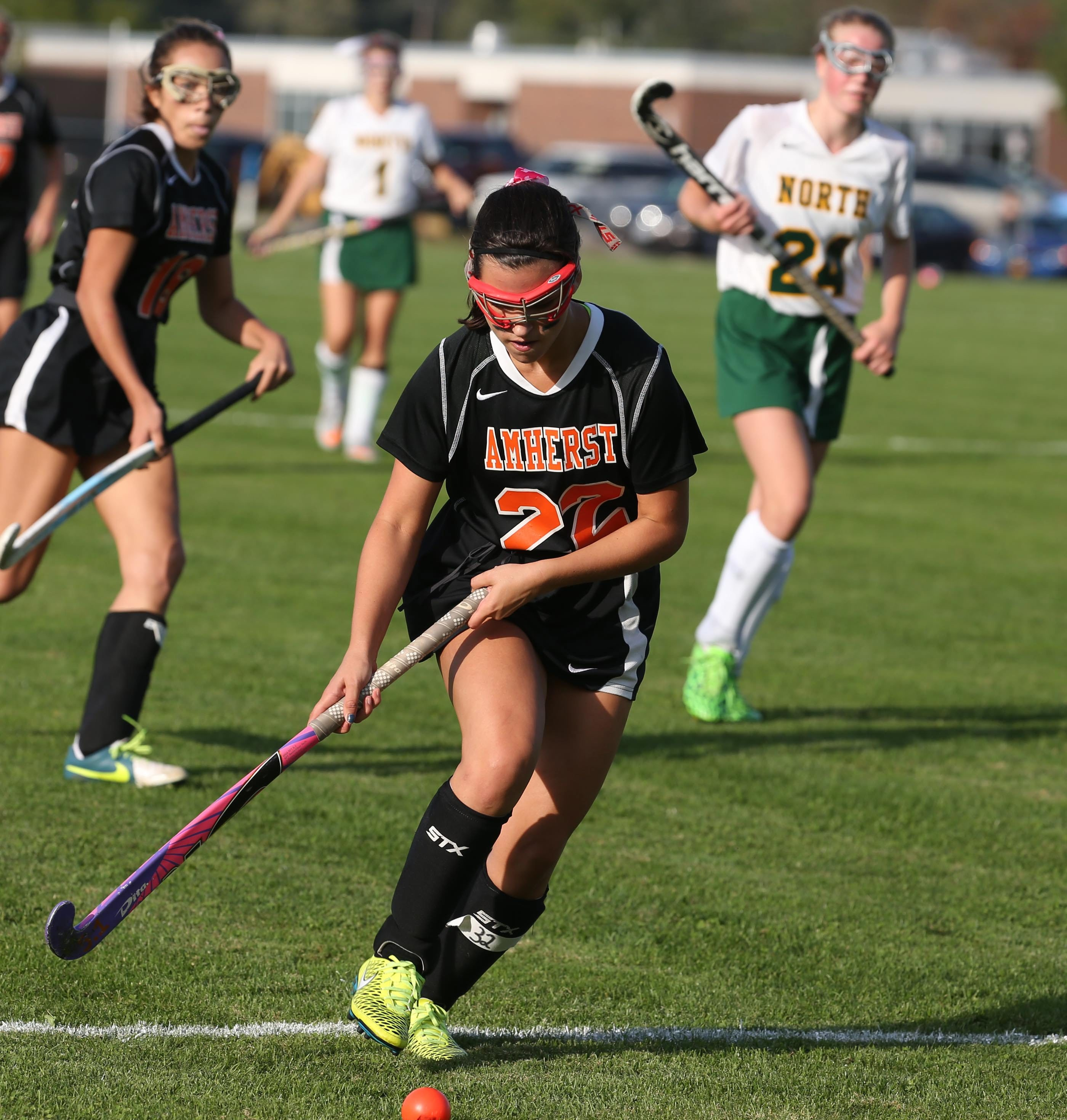 Amherst's Molly Minigell heads down the field during the Tigers' 3-0 win over Williamsville North Friday.