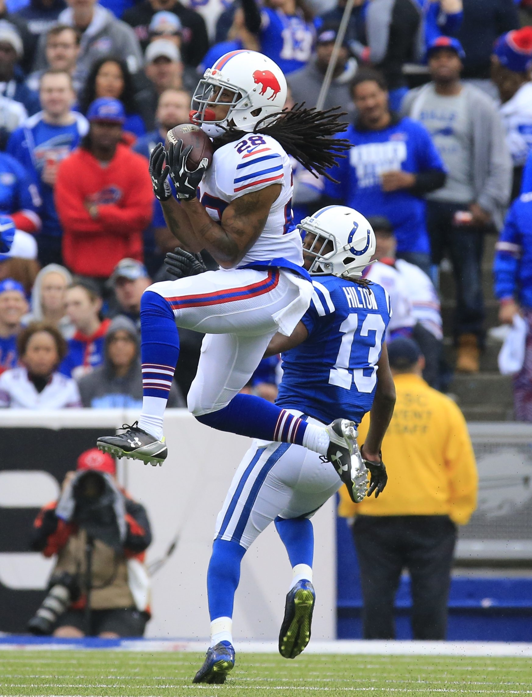 Bills cornerback Ronald Darby intercepts a pass intended for Colts receiver T.Y. Hilton.