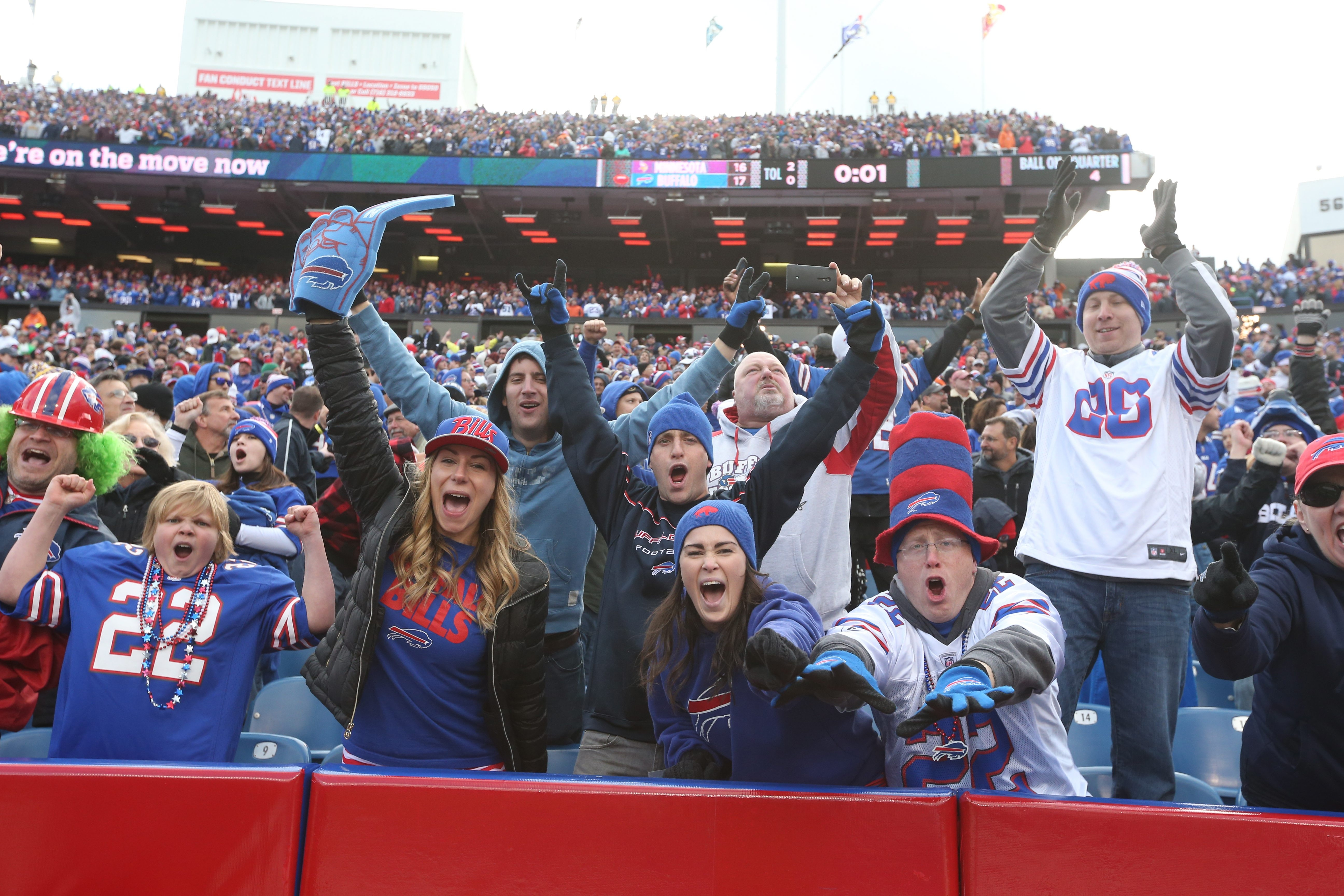 Bills fans will have to be loud, proud and passionate at Ralph Wilson Stadium on Sunday, when officials from Guinness World Records are there to chart Buffalo's attempt at a noise mark for outdoor stadiums.   Buffalo Bills fans react to the Buffalo Bills wide receiver Sammy Watkins (14) touchdown in the fourth quarter at Ralph Wilson Stadium in Orchard Park, N.Y. on Sunday, Oct. 19, 2014.  (James P. McCoy/ Buffalo News)