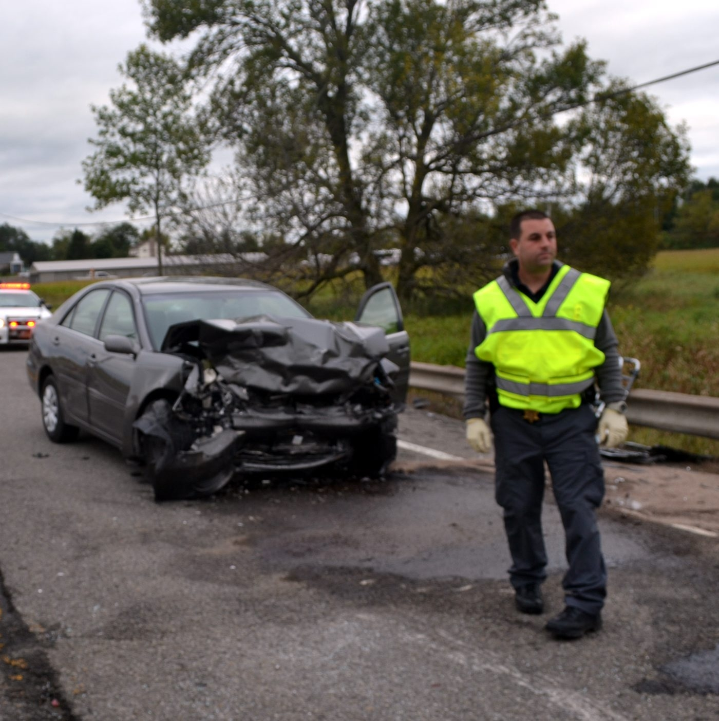 A woman was killed after her westbound car drove into the eastbound lane of Saunders Settlement Road near Baer Road on Wednesday afternoon. The driver of a second car was injured.