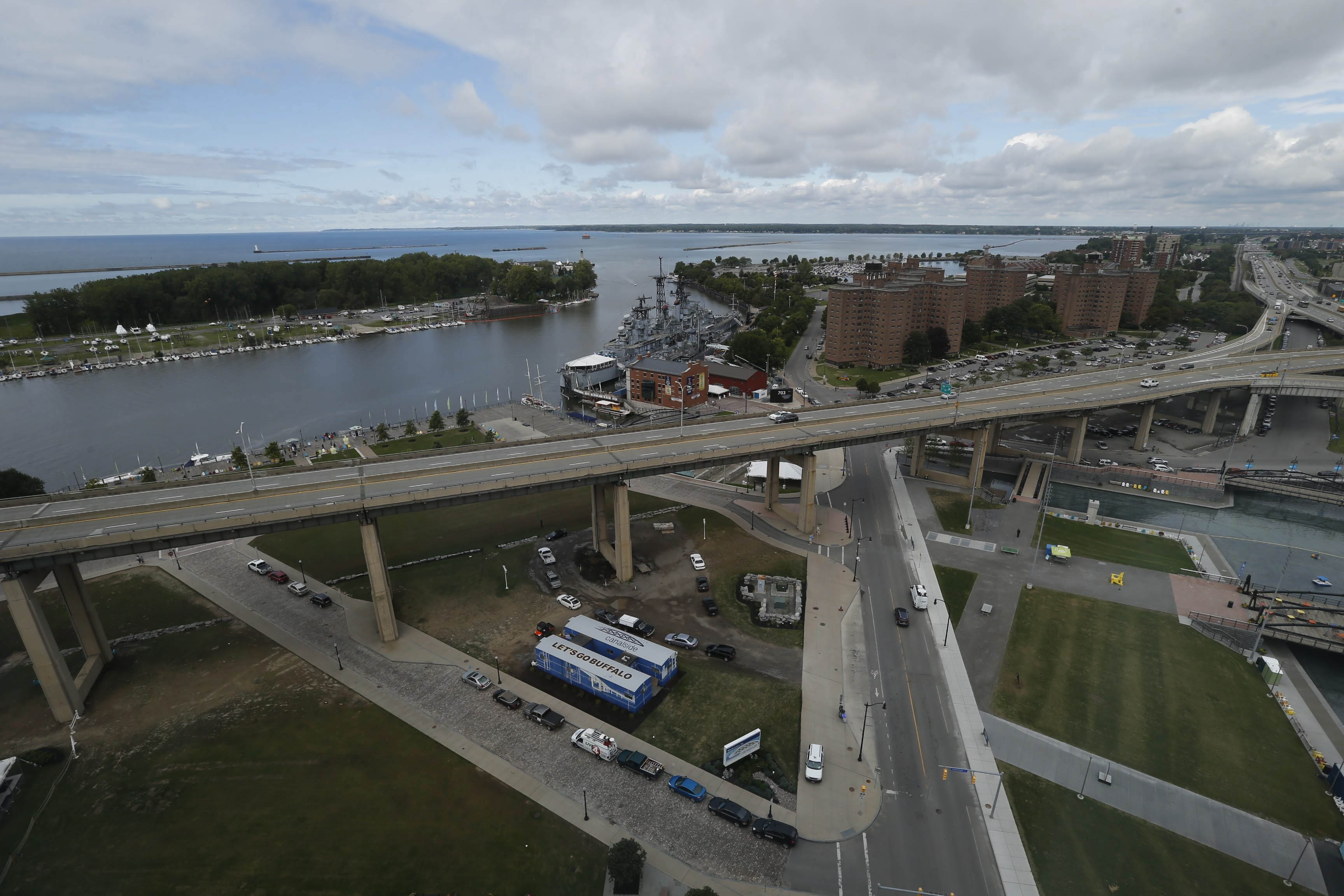 The Skyway looms above the property offered for development, but it isn't expected to be an impediment.