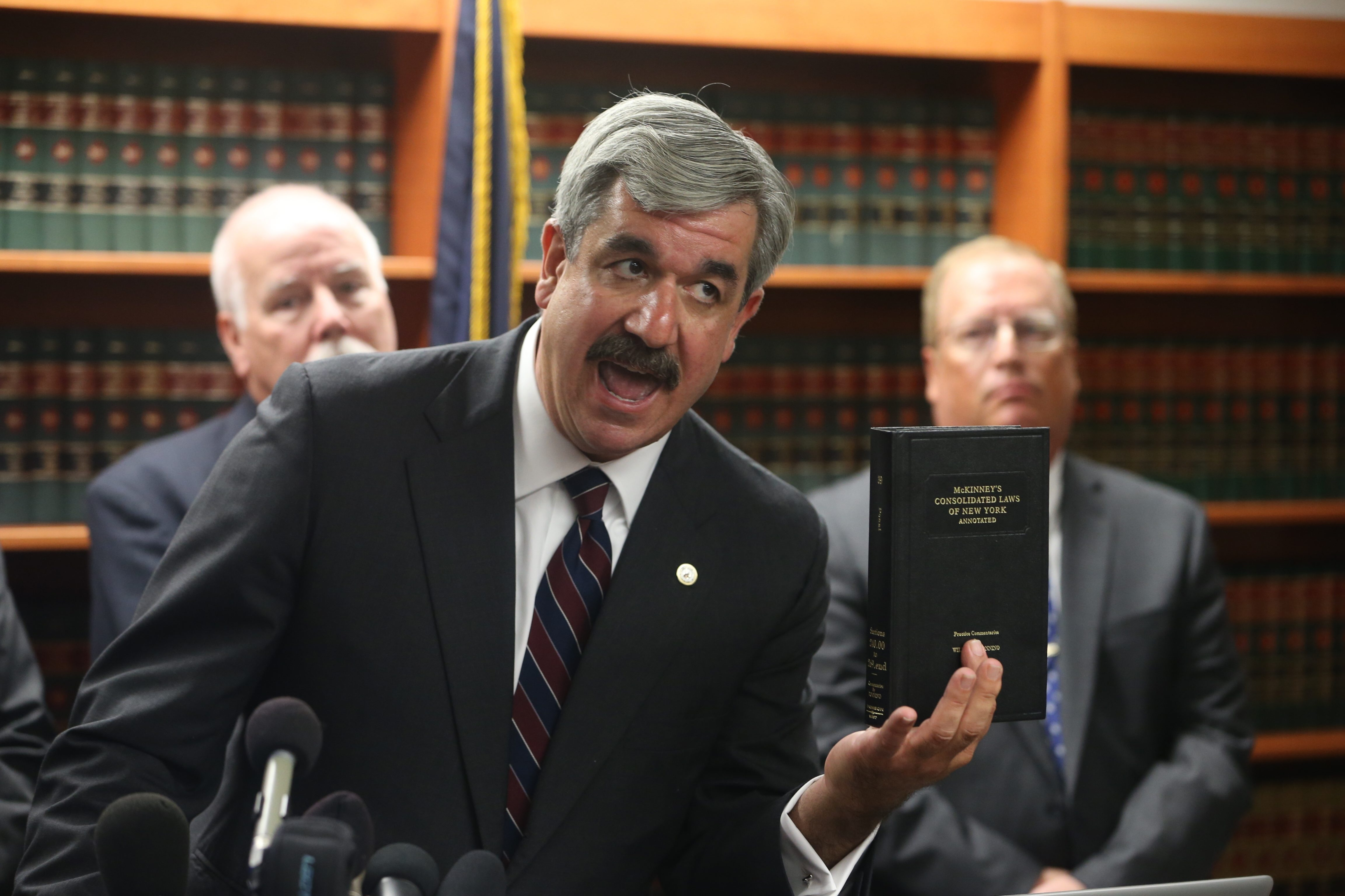 """Erie County District Attorney Frank A. Sedita III addresses """"allegations of evidence tampering"""" in the Patrick Kane rape investigation at a news conference Sept. 25 in his offices in Buffalo."""