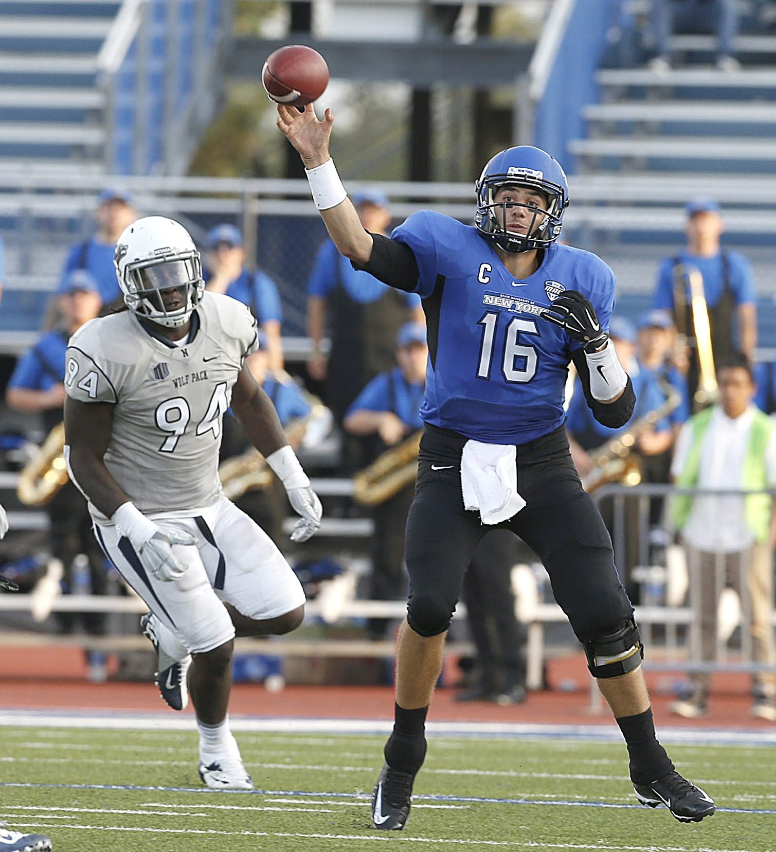 UB's Joe Licata threw for 338 yards and a pair of touchdowns but was often harassed in the first half by the likes of Nevada's Lenny Jones.