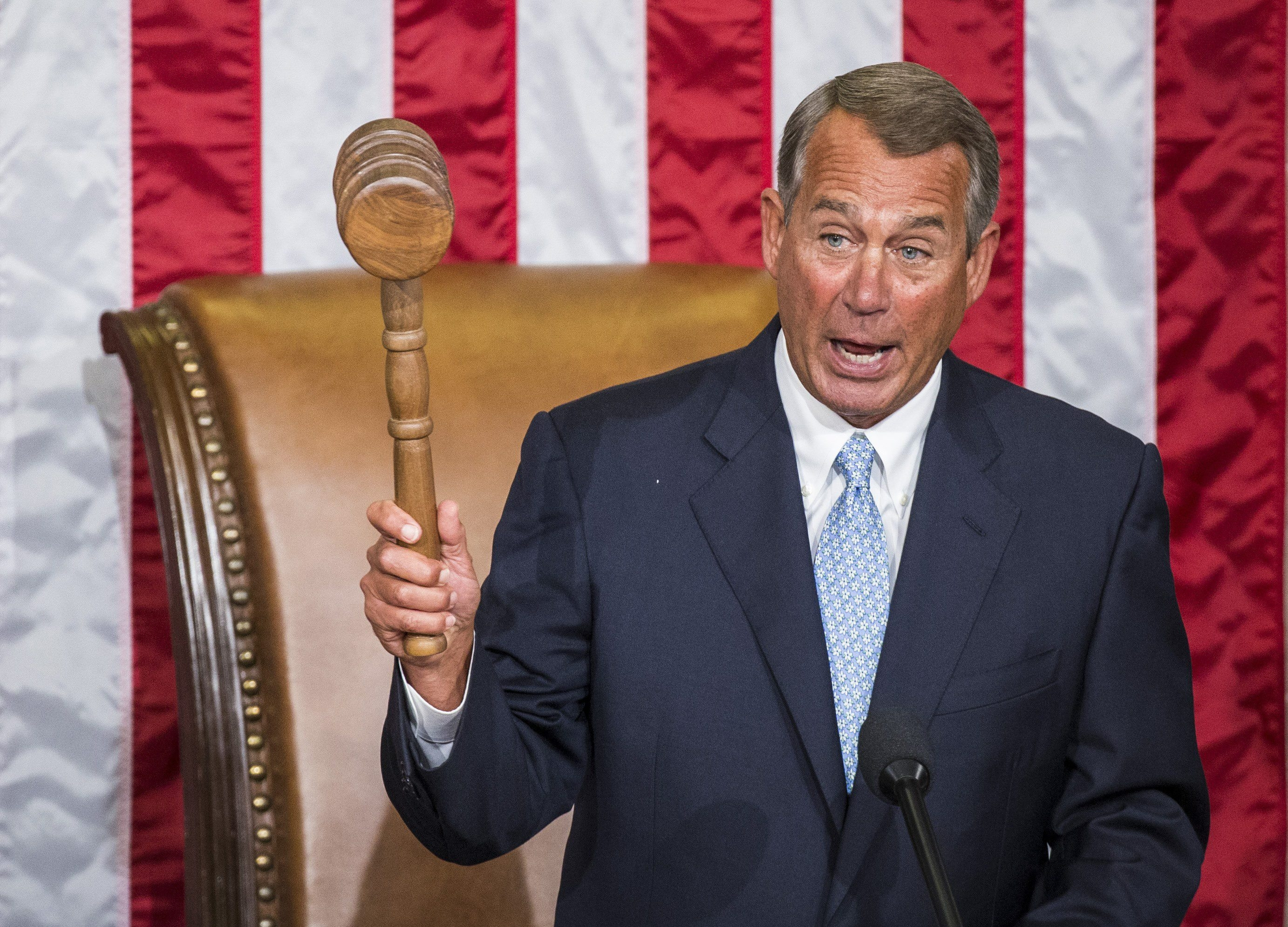 House Speaker John Boehner (R-Ohio) holds the gavel after he was re-elected as speaker at the Capitol Building in Washington in January. Two dozen Republicans voted against Boehner, diminishing somewhat what should have been a day of euphoria for the party as Republicans assumed control of both houses of Congress for the first time in eight years.