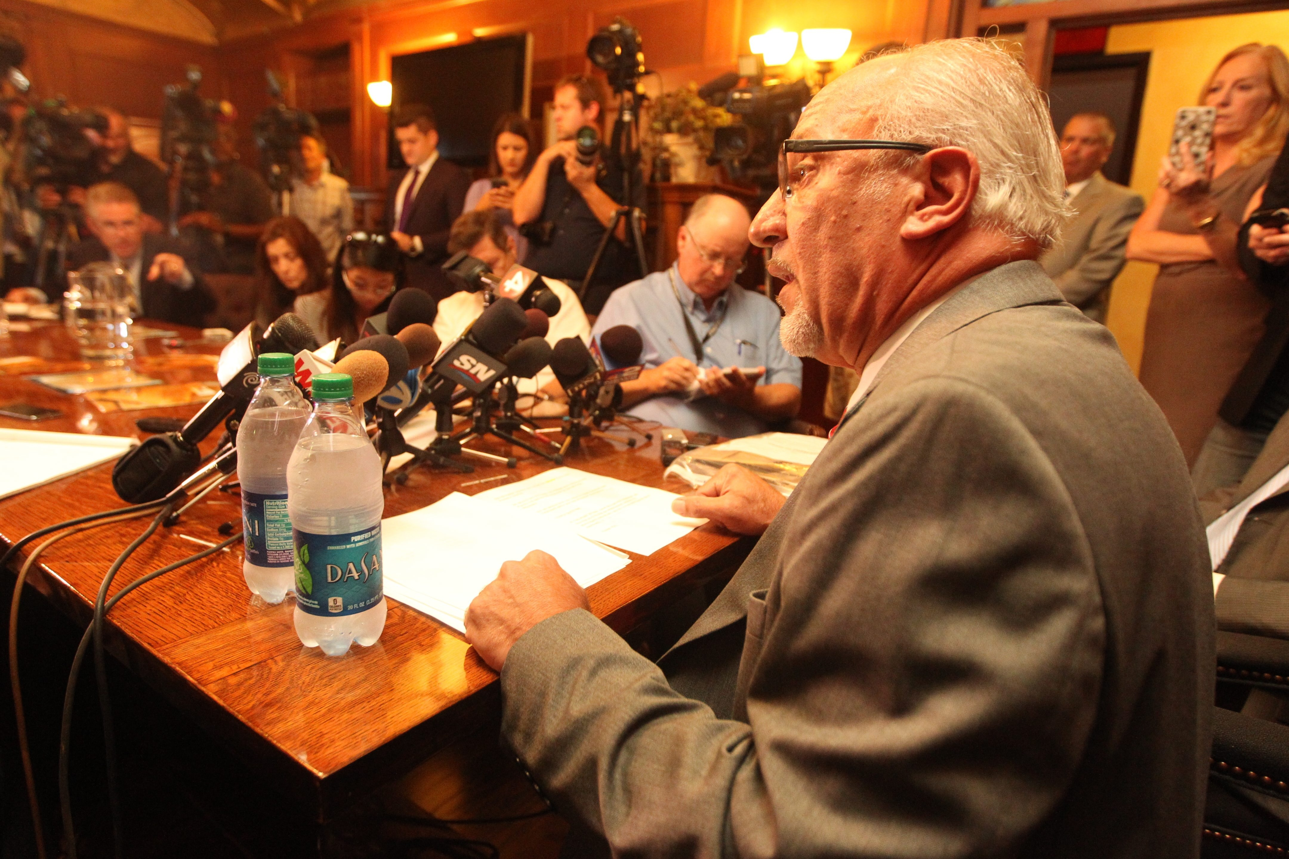 Thomas Eoannou, the attorney representing the woman has accused hockey star Patrick Kane of raping her, addresses the media in his offices at the Cornell Mansion in Buffalo on Sept. 23. (John Hickey/Buffalo News)