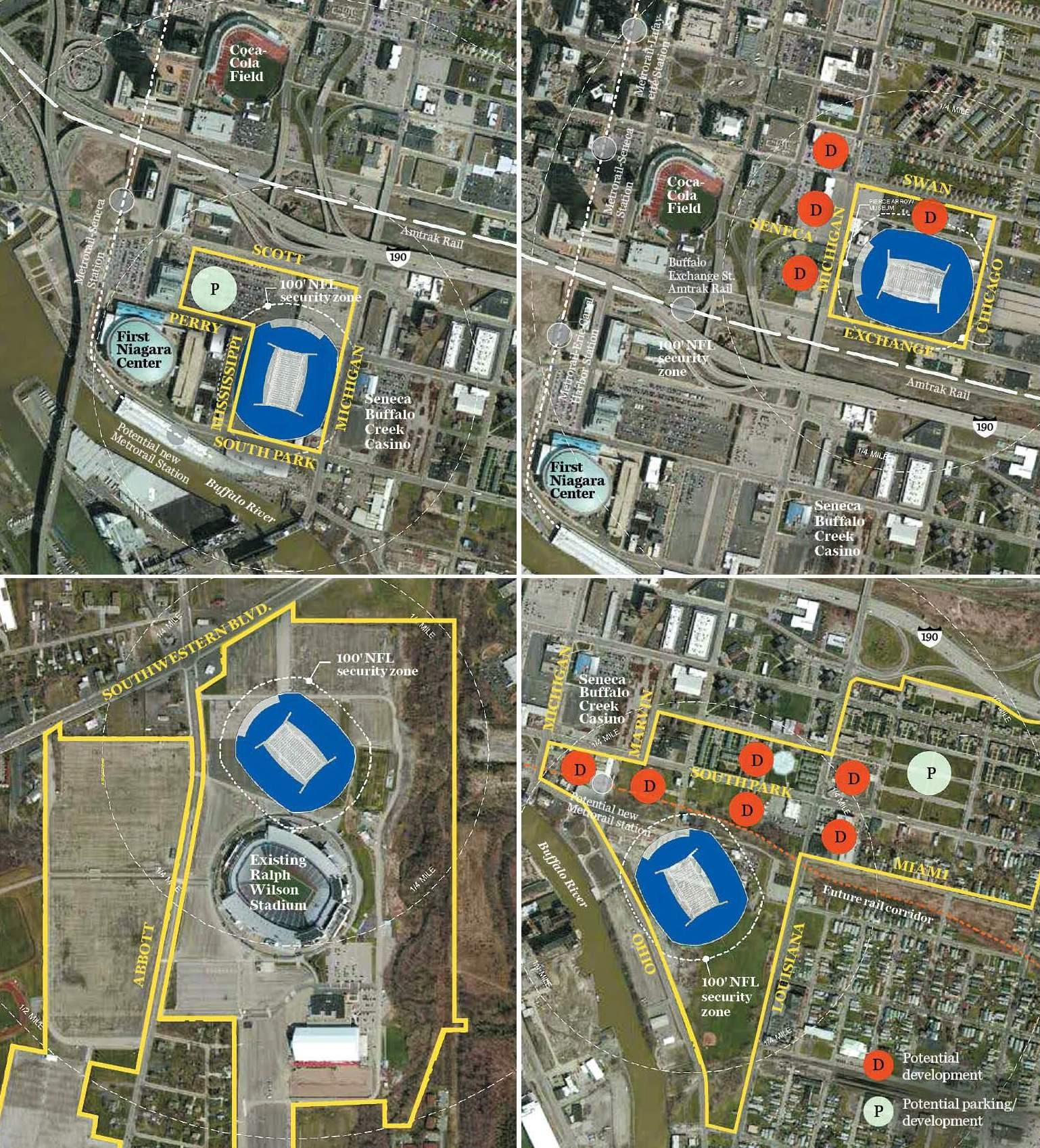 The shortlisted stadium sites are, clockwise from top left, the Cobblestone District, Exchange Street, South Park and Orchard Park.