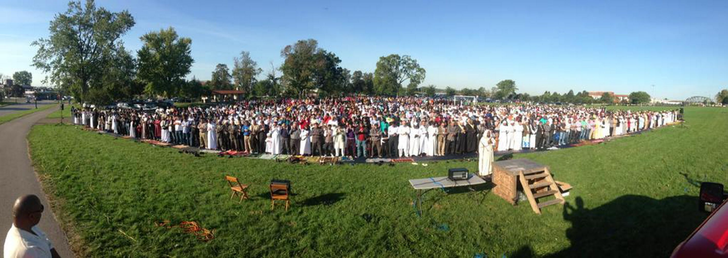 Thousands of area Muslims gather for the celebration of Eid al-Adha in Buffalo's Front Park on Sept. 24. (John Hickey/Buffalo News)