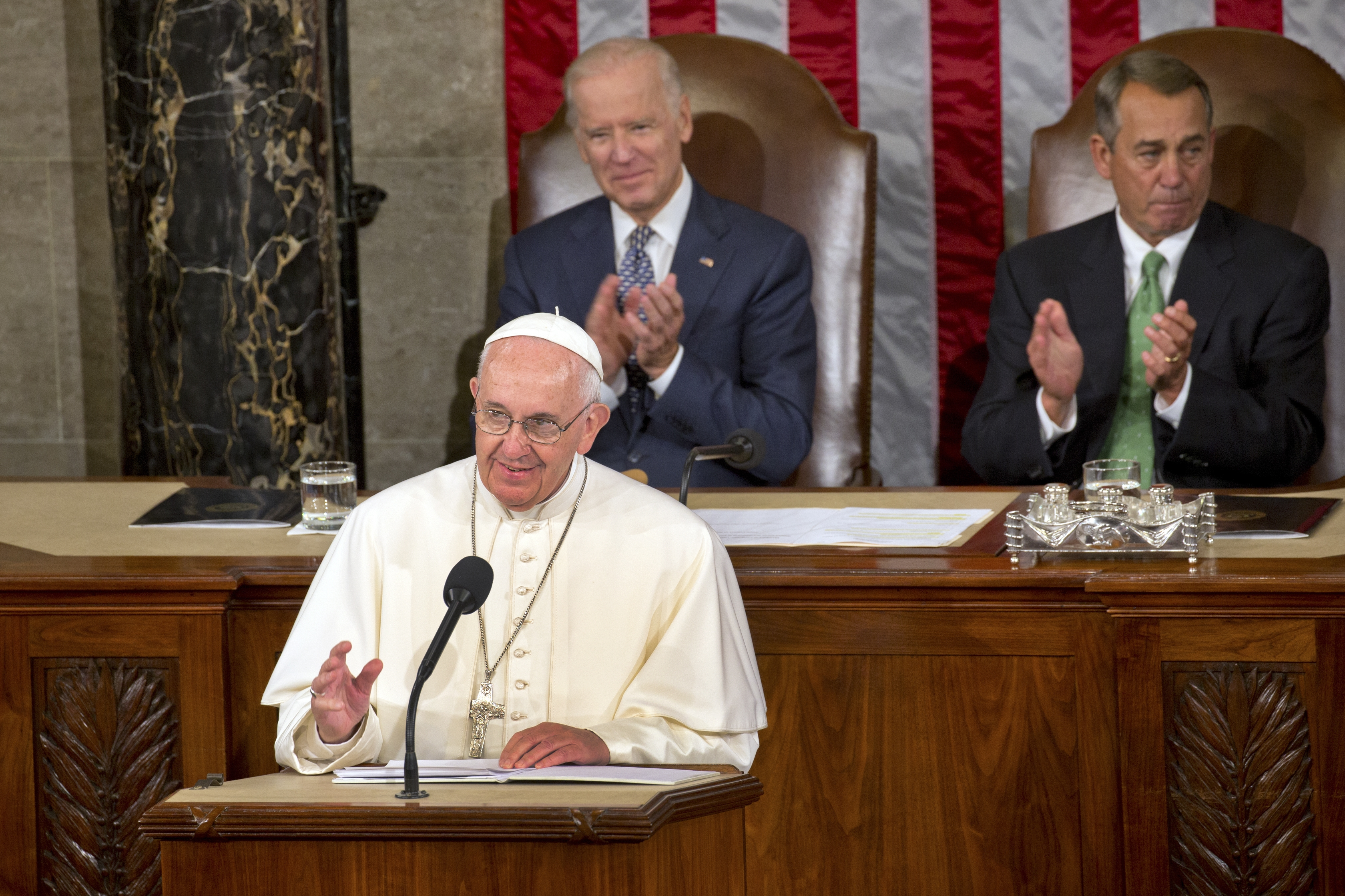 Pope Francis addresses a joint meeting of Congress at the Capitol in Washington, Sept. 24, 2015. The pontiff's high-profile address comes at a time of intense partisan and ideological ferment over divisive policy questions, some of which deeply concern the Roman Catholic Church and its 70 million members in the U.S. (New York Times)