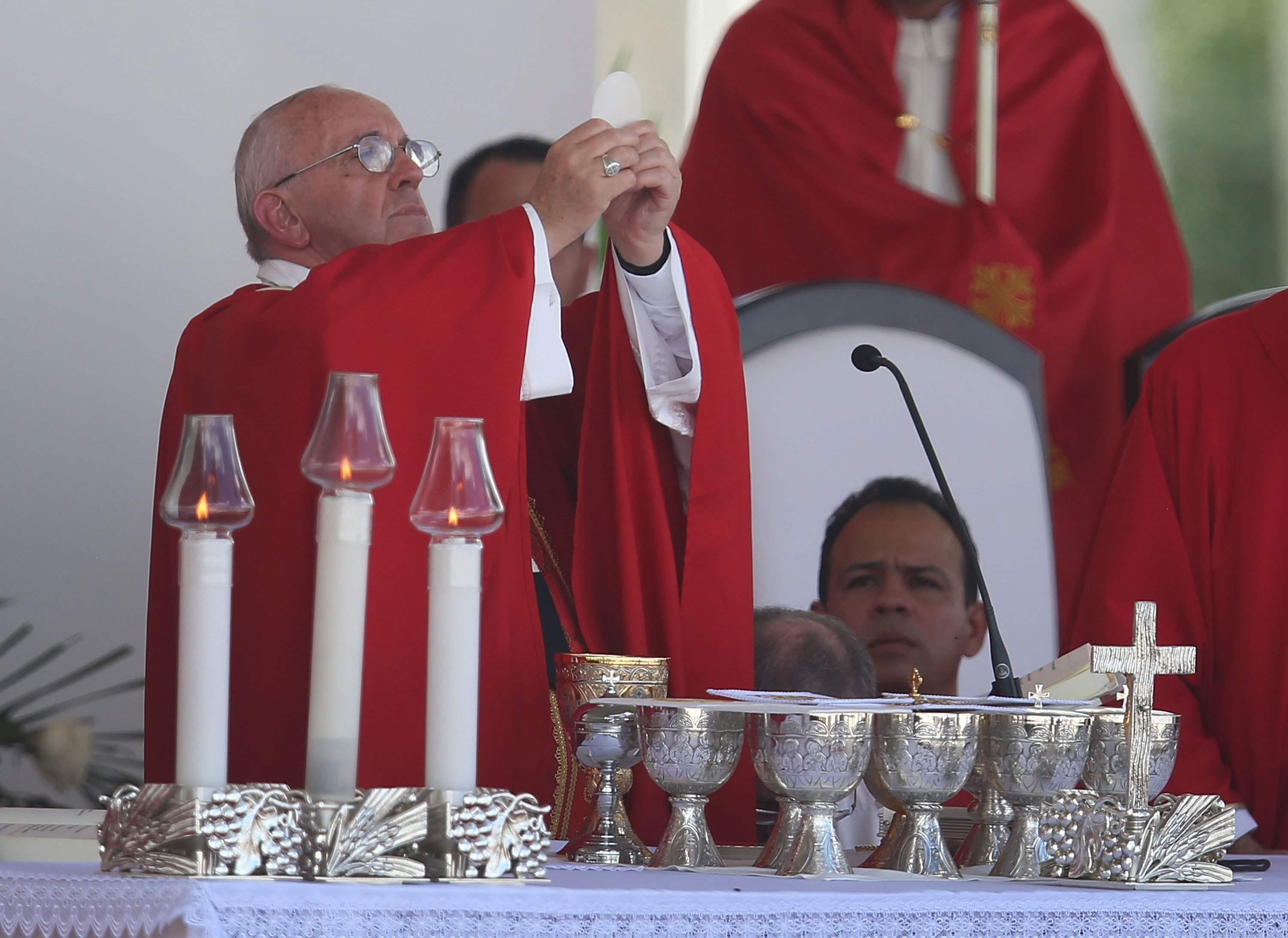 Pope Francis celebrates mass in Holguin, Cuba, Monday on the second day of a three-day trip before moving on to the United States. (Getty Images)