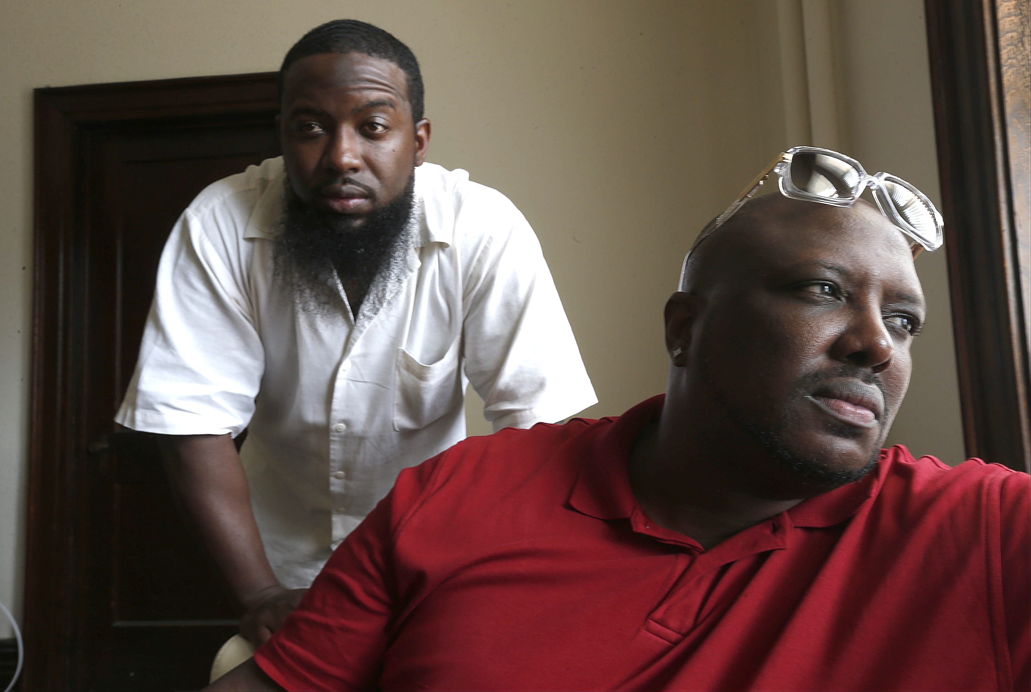 """Steve """"Stevo"""" Johnson, right, who was molested by a family friend when he was 7 years old, and child protection advocate Keyon Lee are demanding better parent notification regarding sex offenders in the City of Buffalo."""