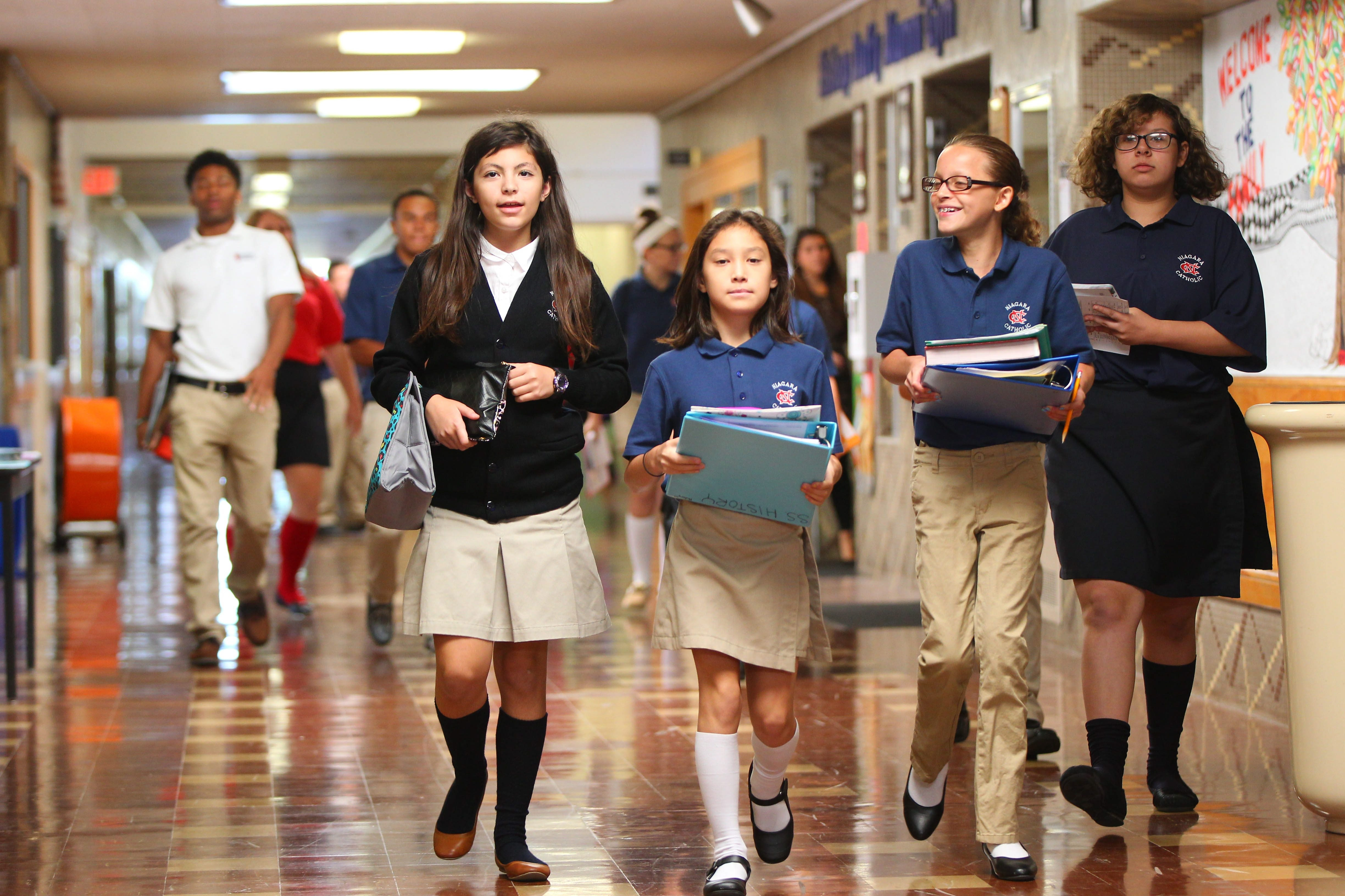 Students make their way to class at Niagara Catholic. Niagara County's only Catholic junior-senior high school is seeking to expand enrollment from the current 206 to 250 or 300 in two years.