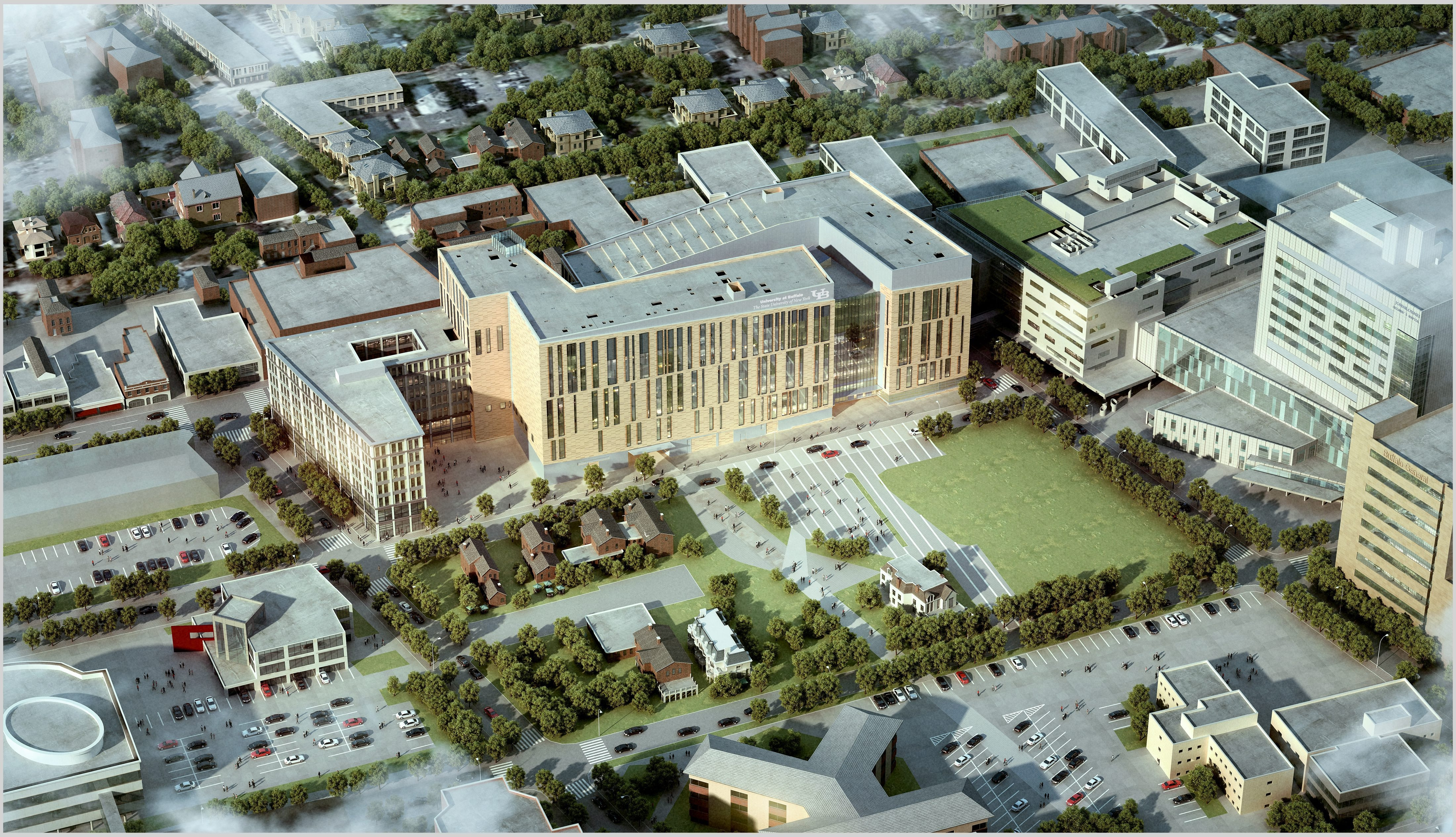 An aerial view of the rendering of the UB Medical School being constructed on the medical campus. (Image provided by UB)