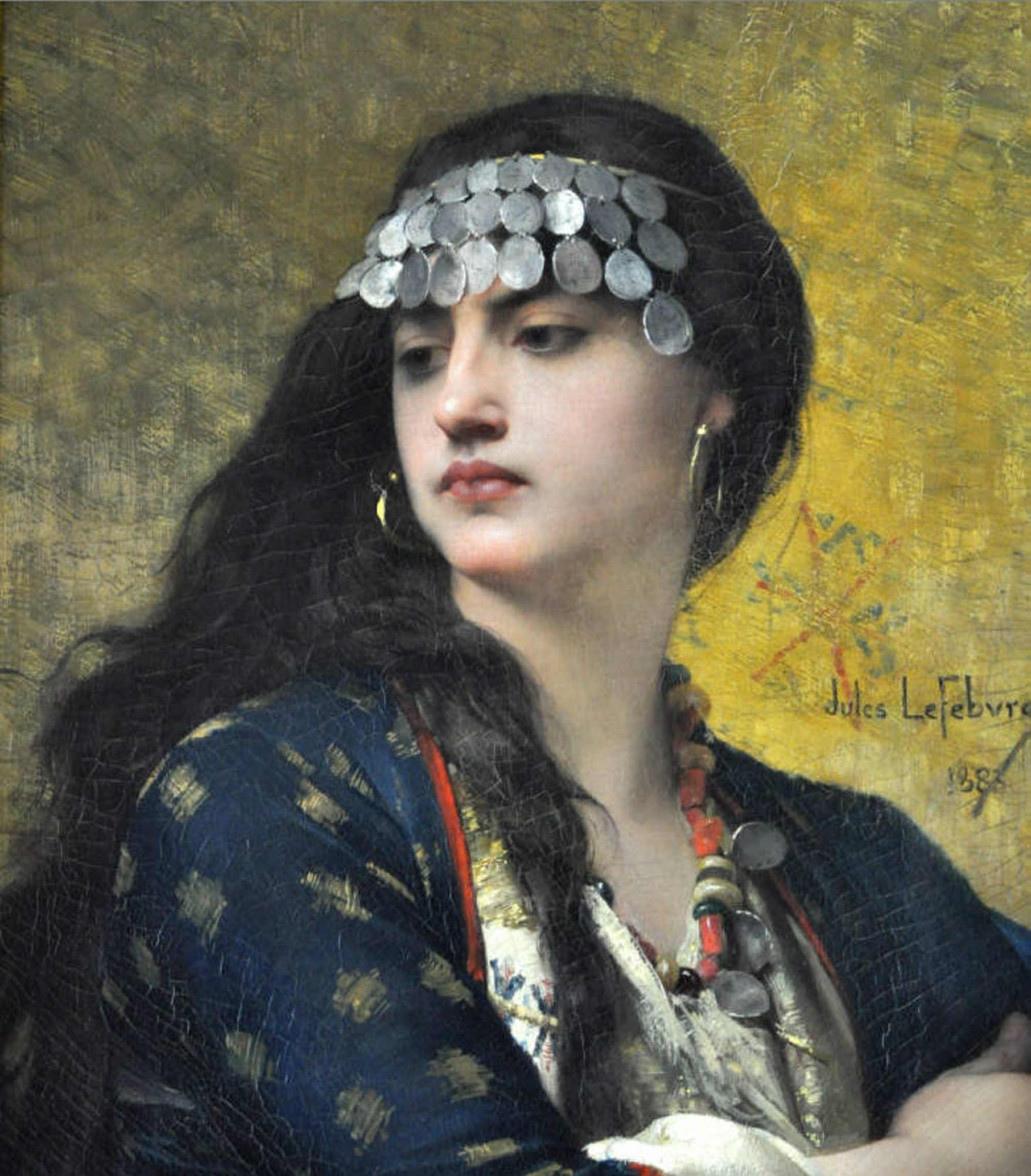 """""""Fatima,"""" an 1883 oil painting by Jules Joseph Lefebvre, is among the paintings that could be sold."""
