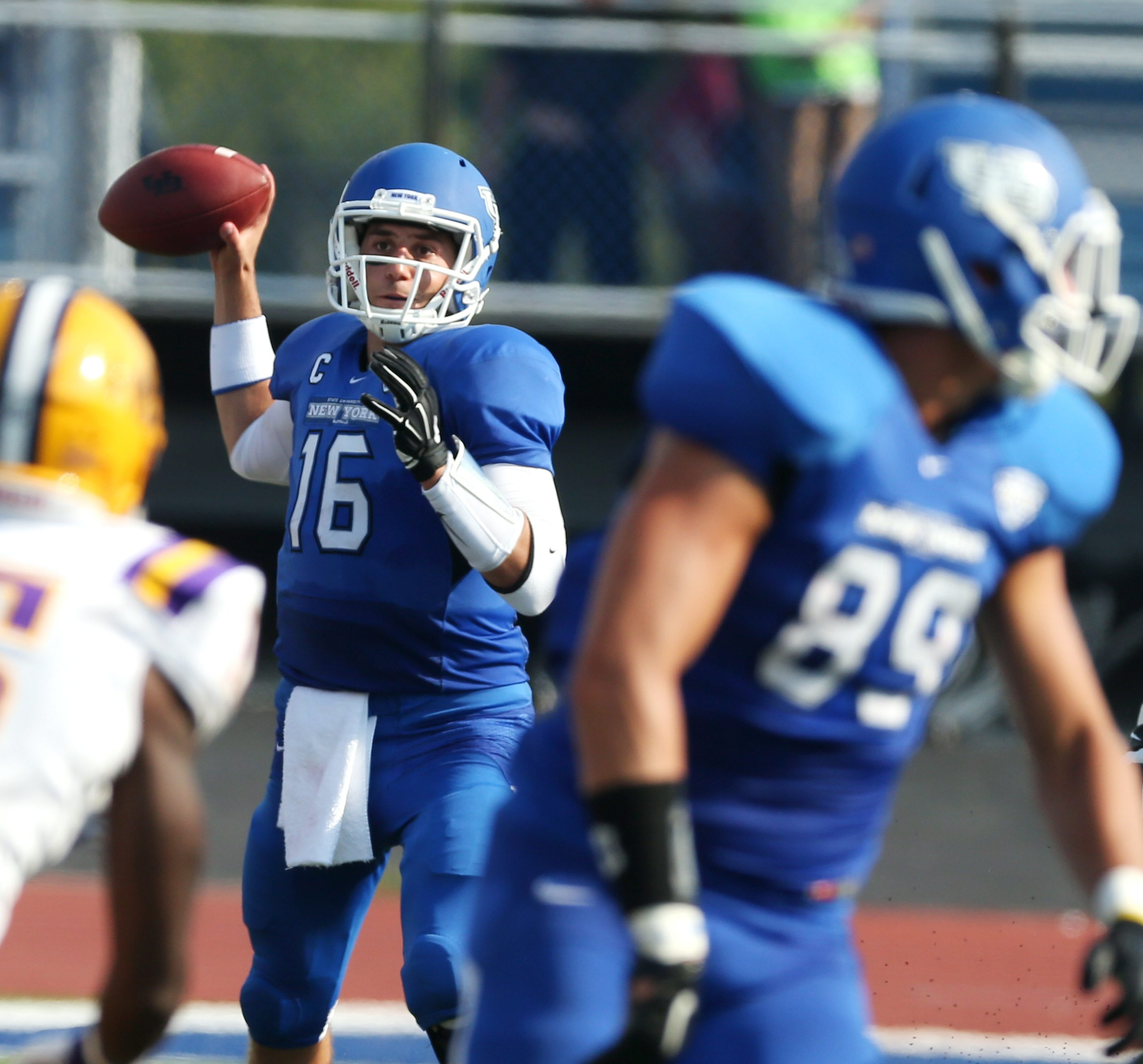 Senior quarterback Joe Licata completed 20 of 26 passes for 246 yards and two touchdowns in UB's opening win.