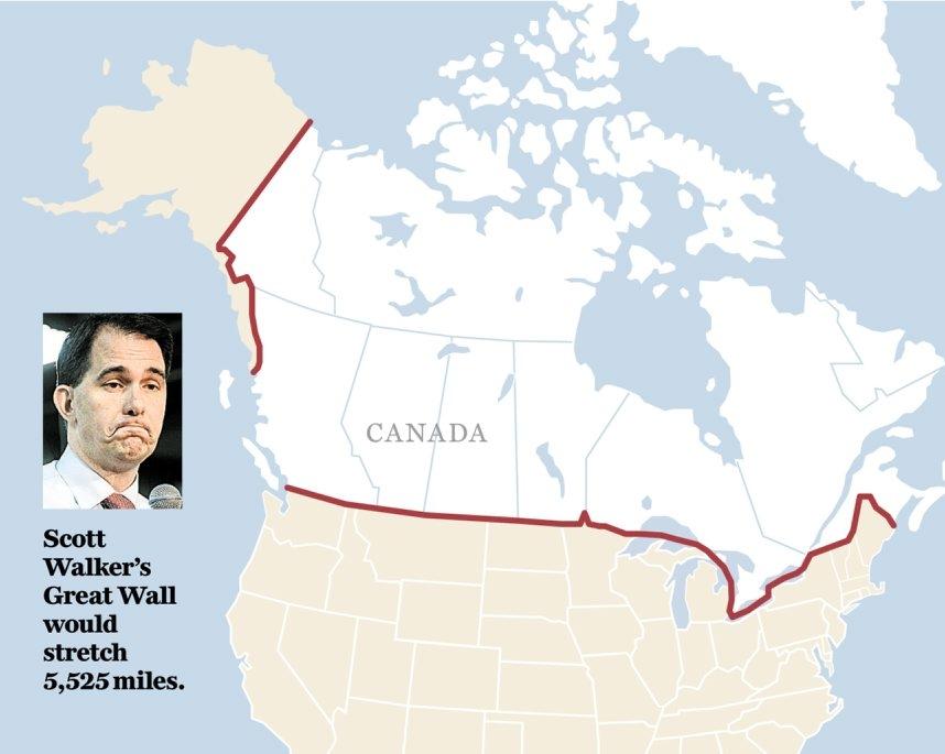 WalkerþÄôs wall notion borders on the absurd  American canadian critics aren't amused