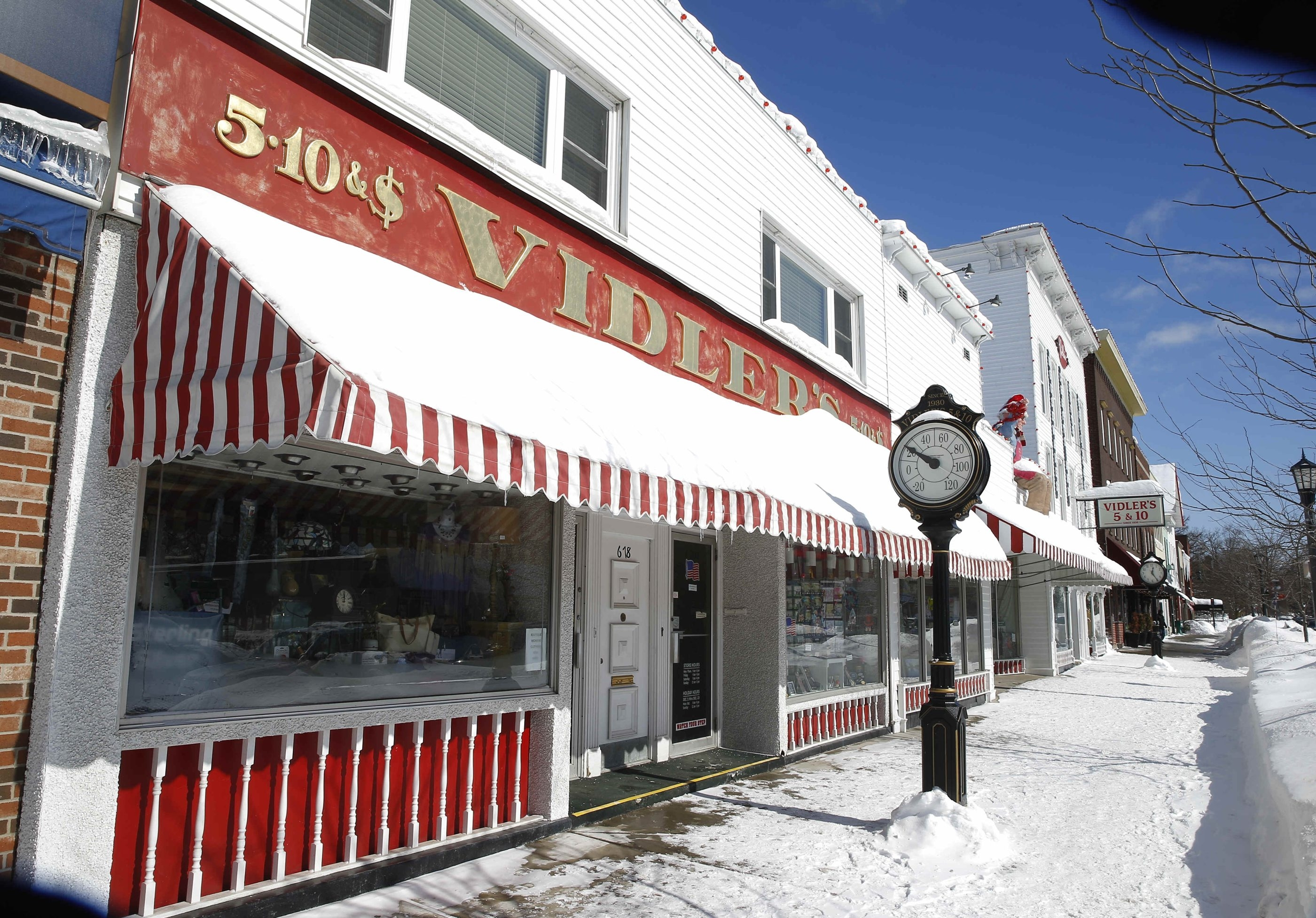 Vidler's on Main Street in East Aurora is  decked out for christmas for the filming of a movie in East Aurora, N.Y. on Friday, Feb. 20, 2015.    (John Hickey/Buffalo News)