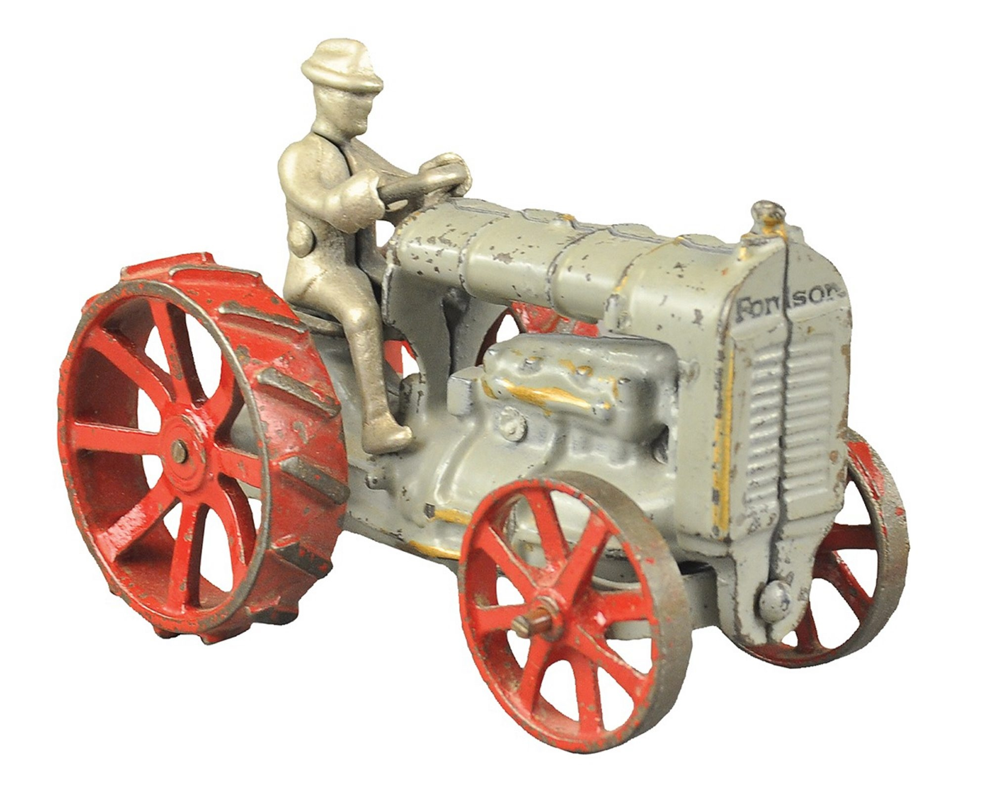 Ford Motor Company made the large Fordson Tractor in the early 1930s, when this toy was made. It sold at Bertoia's Auction in Vineland, N.J., for $185.