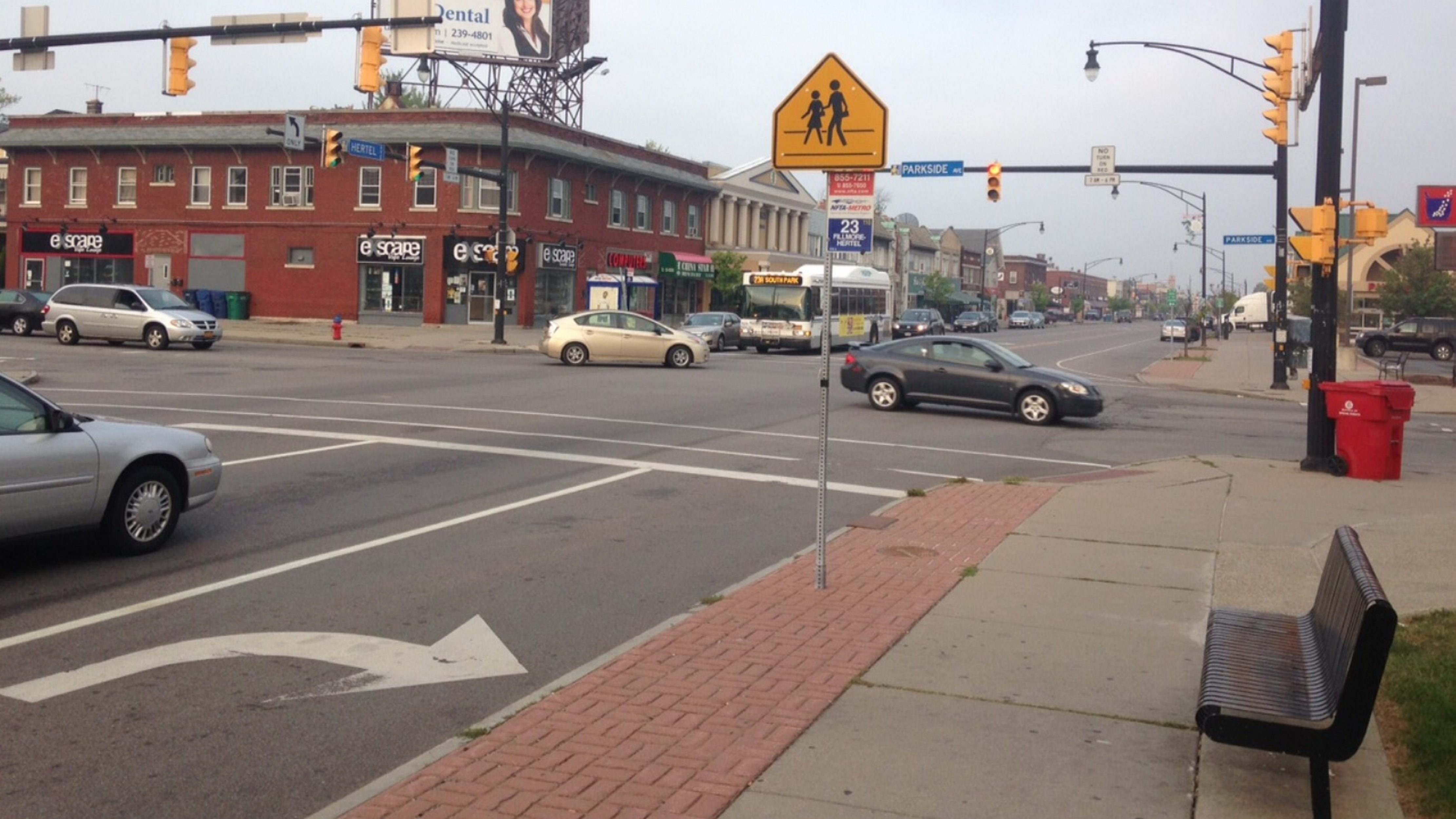 The scene at the intersection of Hertel and Parkside on Tuesday morning.