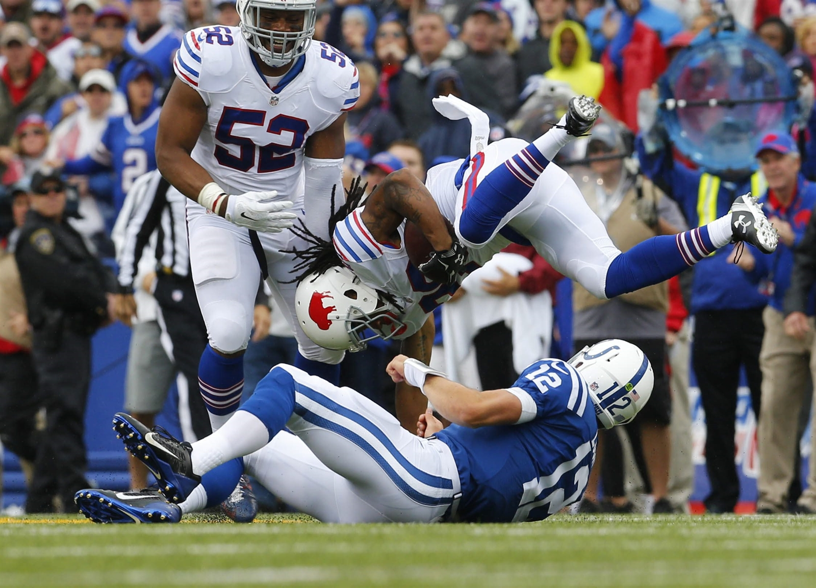 Rookie Ronald Darby is upended by Andrew Luck after his pivotal interception. (Mark Mulville/Buffalo News)