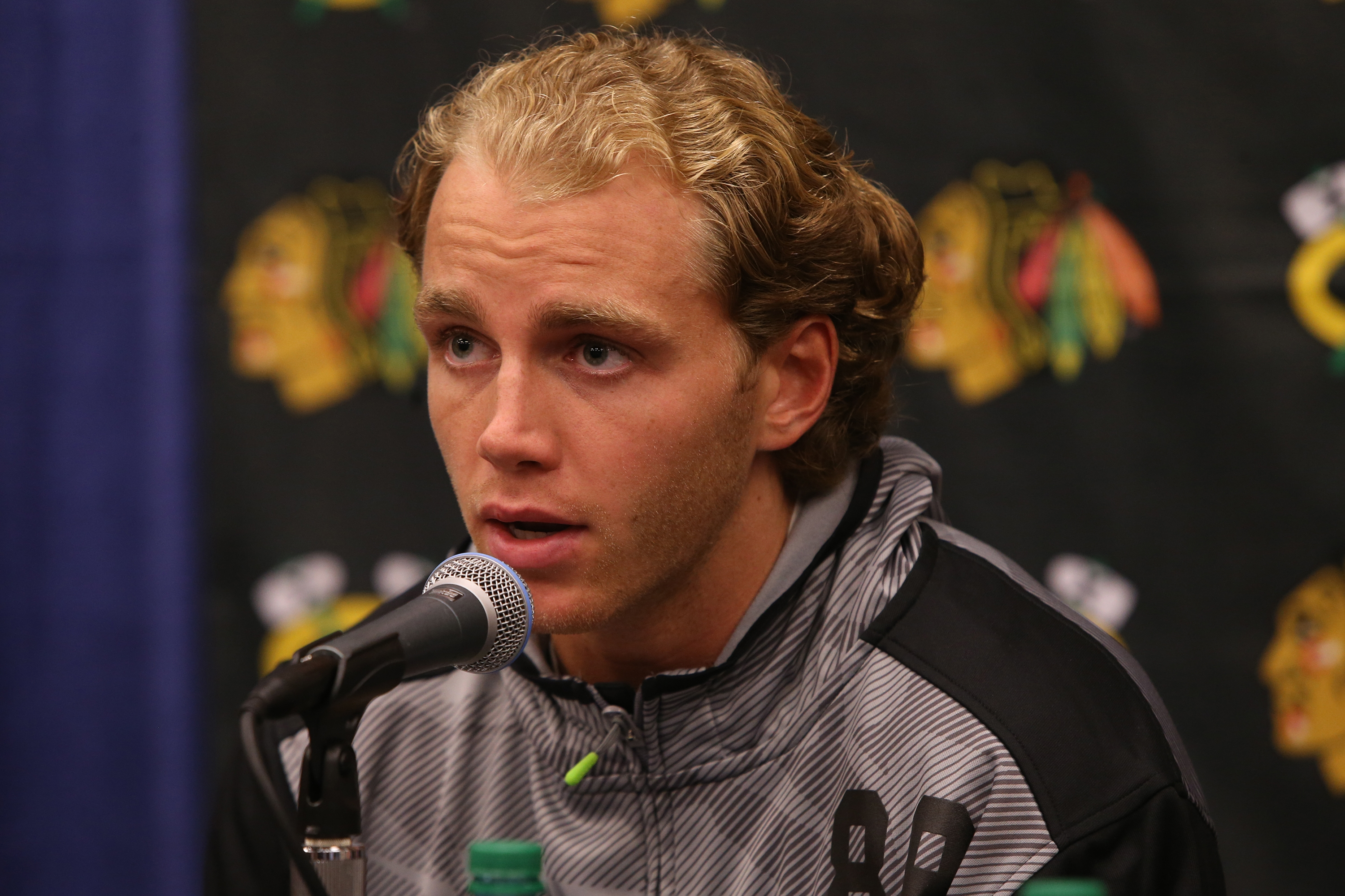 Patrick Kane speaks during a press conference before the start of the Chicago Blackhawks training camp on Thursday, Sept. 17, 2015, at the University of Notre Dame's Compton Family Ice Center in South Bend, Ind. (Antonio Perez/Chicago Tribune/TNS)