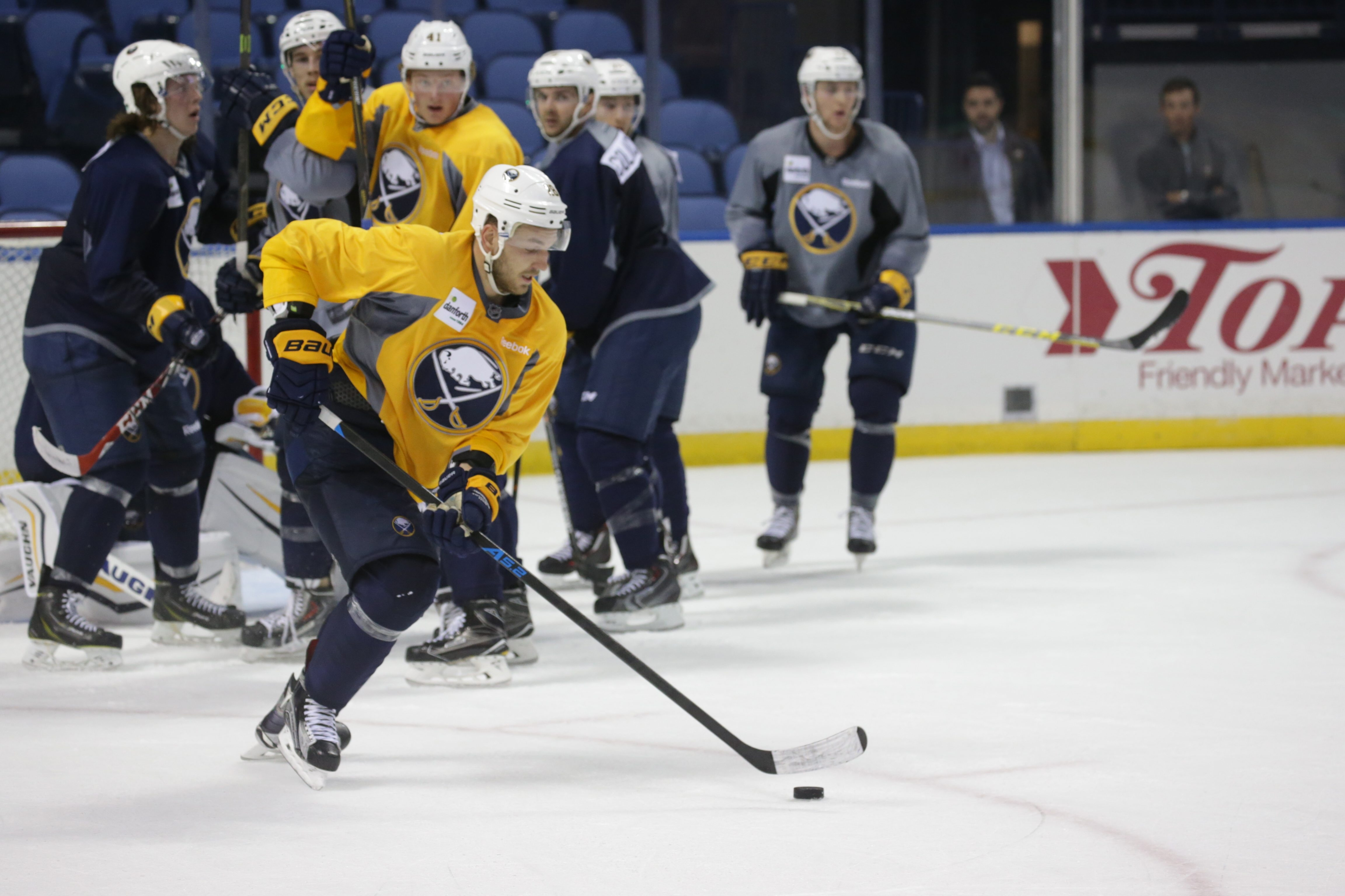 Zemgus Girgensons, at left wing, is playing on a line with Matt Moulson and Jack Eichel at the start of training camp.