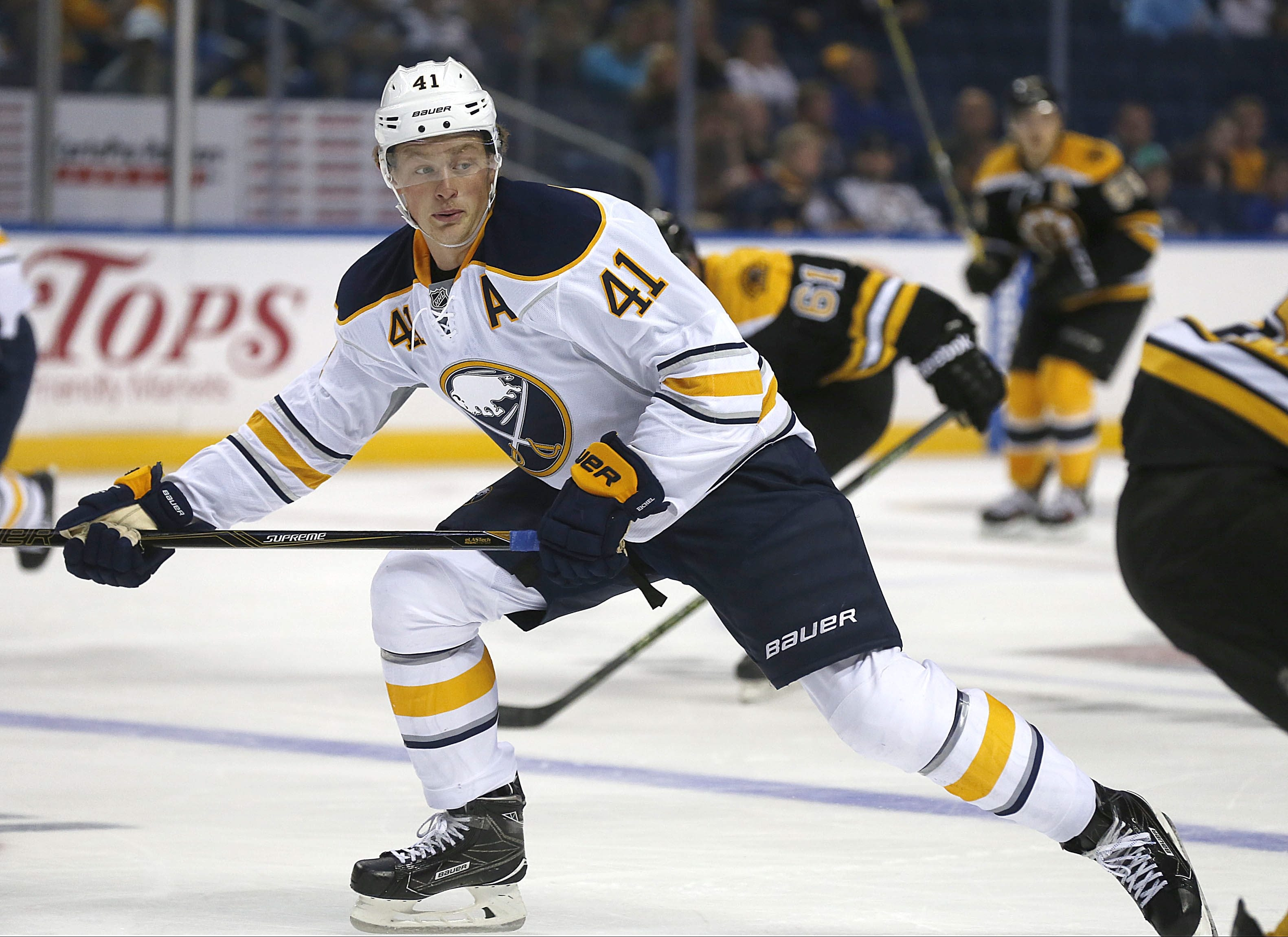 "Sabres' Jack Eichel says, ""It's exciting, our first preseason game."" (Robert Kirkham/Buffalo News)"