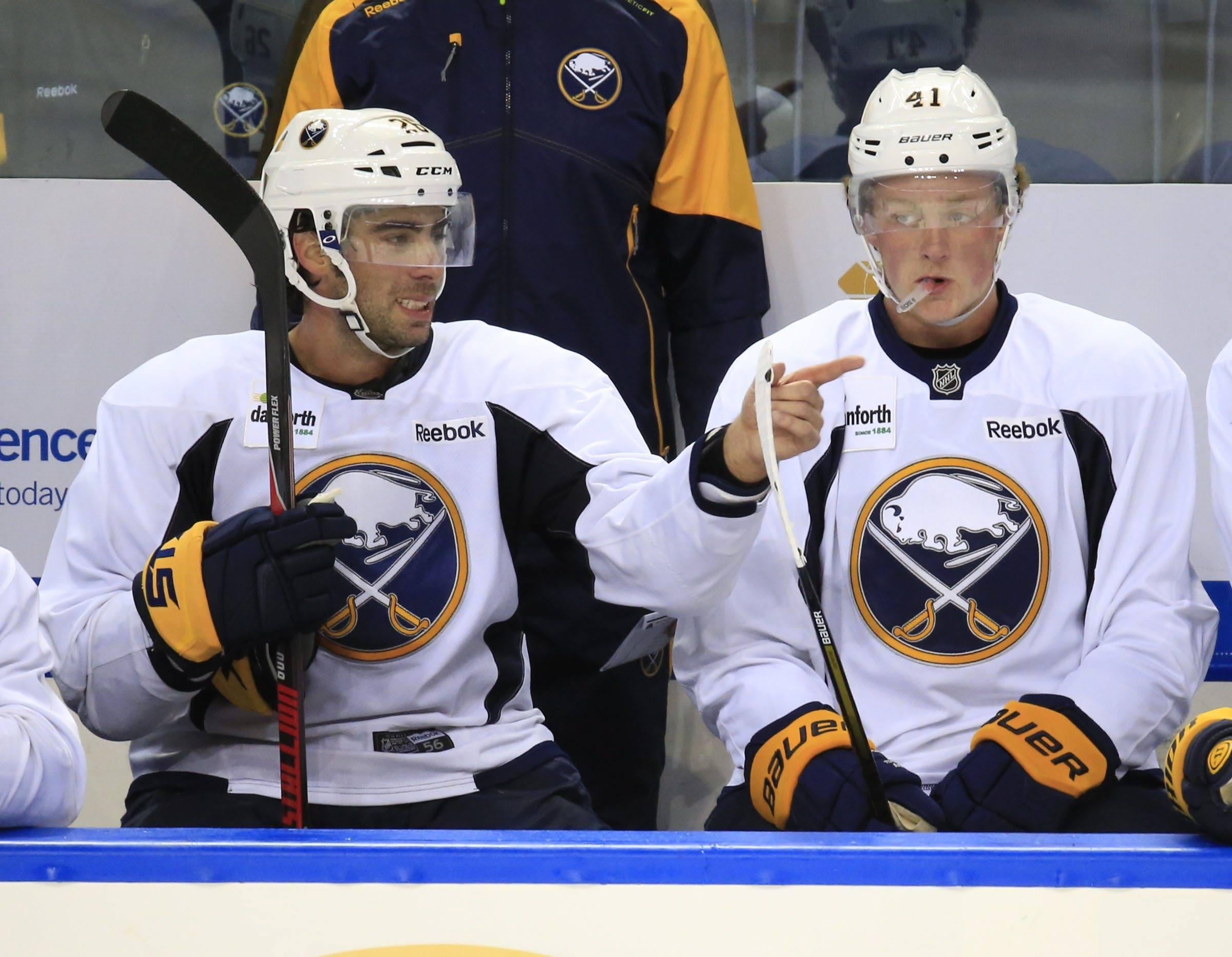 Matt Moulson, left, hopes having Jack Eichel around will help increase his goal total, which was just 13 on the 30th-place team of 2014-15.