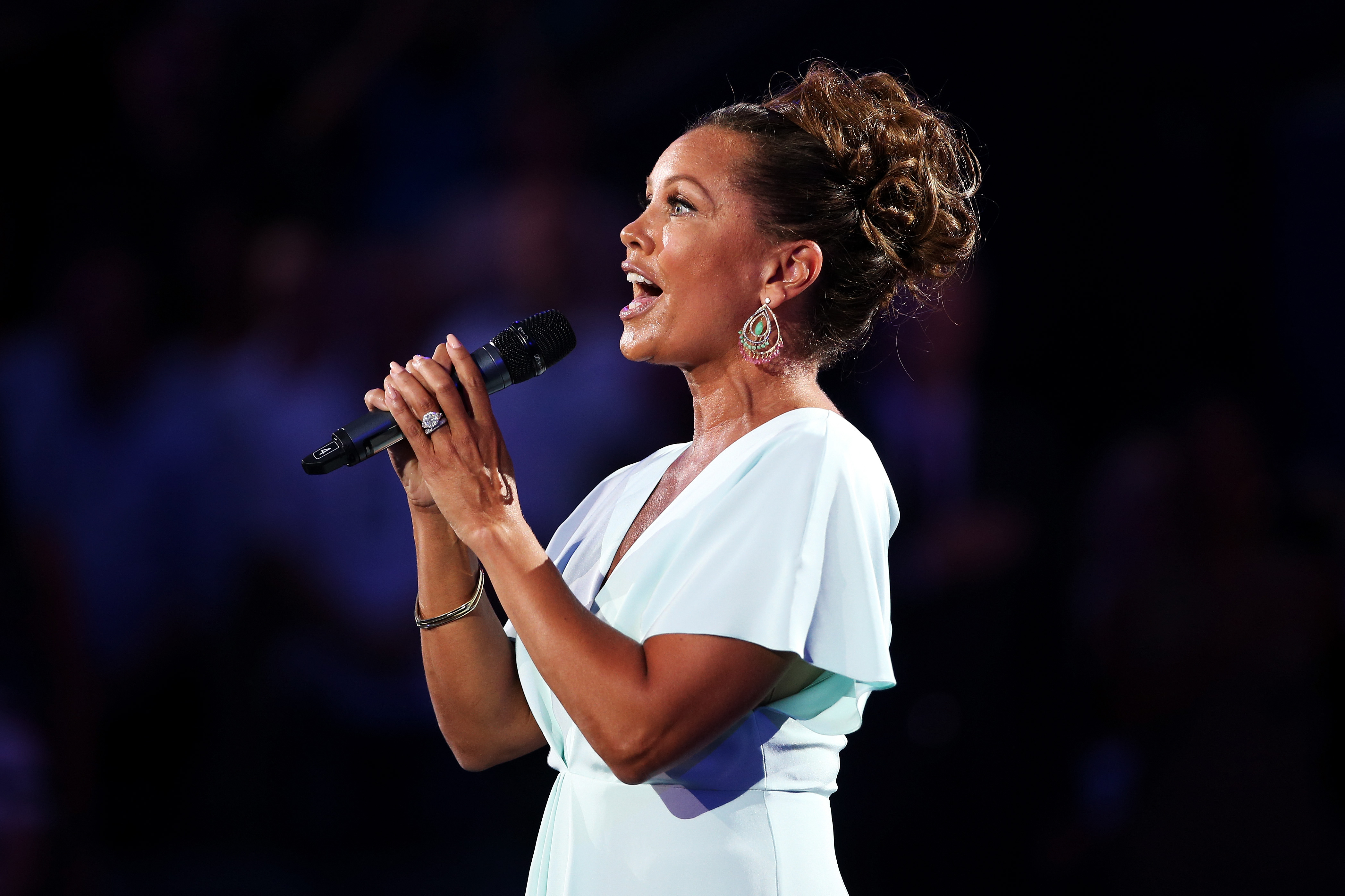 Actress and singer Vanessa Williams performs the national anthem during the opening ceremony for the 2015 US Open on Aug. 31 in New York City.  (Getty Images)