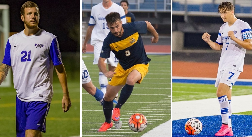 From left, Niagara's Andrew Ferguson, Canisius' Nico Baudo and UB's Russell Cicerone make BN Soccer's Best XI. (Don Nieman/Special to The News)