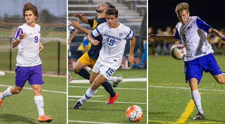From left, Niagara's Alex Dimitriu, UB's Nick Forrester and Niagara's Bautista Pedezert are all part of BN Soccer's Big 4 Underclassmen to Watch. (Don Nieman/Special to The News)