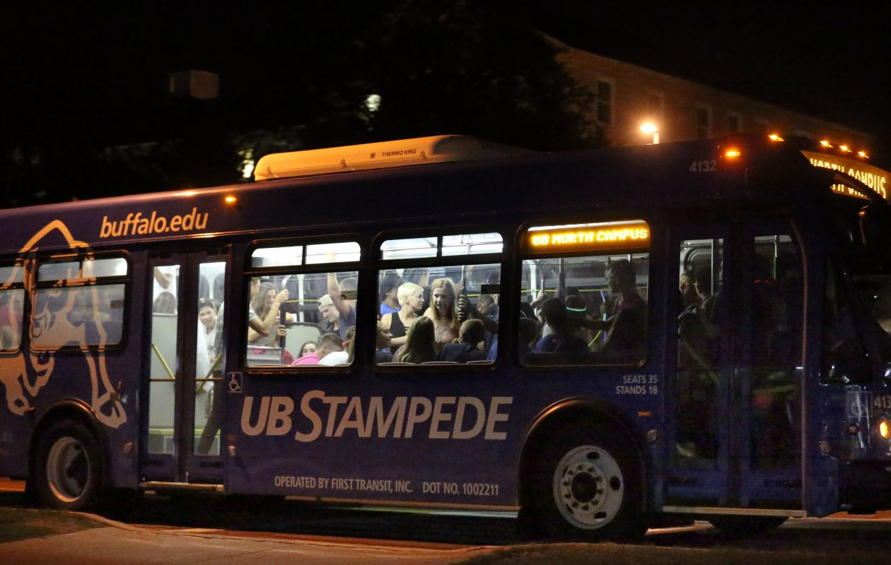 Busloads of students arrive at UB South Campus from the North Campus last August. Between 11p.m. and midnight, buses were arriving about every five minutes. (Sharon Cantillon/Buffalo News file photo)