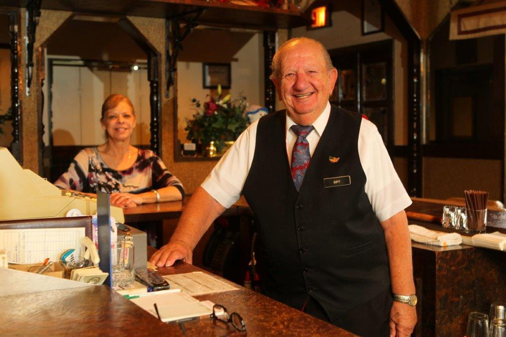Frank 'Biff' Zelli has been shaking up drinks at the Mansard Inn for 38 years. (Mark Mulville/Buffalo News)