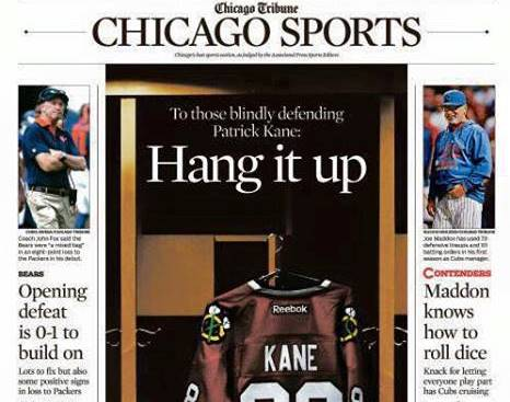 Tuesday's front page of the Chicago Tribune sports section, with a 'Hang it up' headline to Steve Rosenbloom's column on Patrick Kane and his supporters.