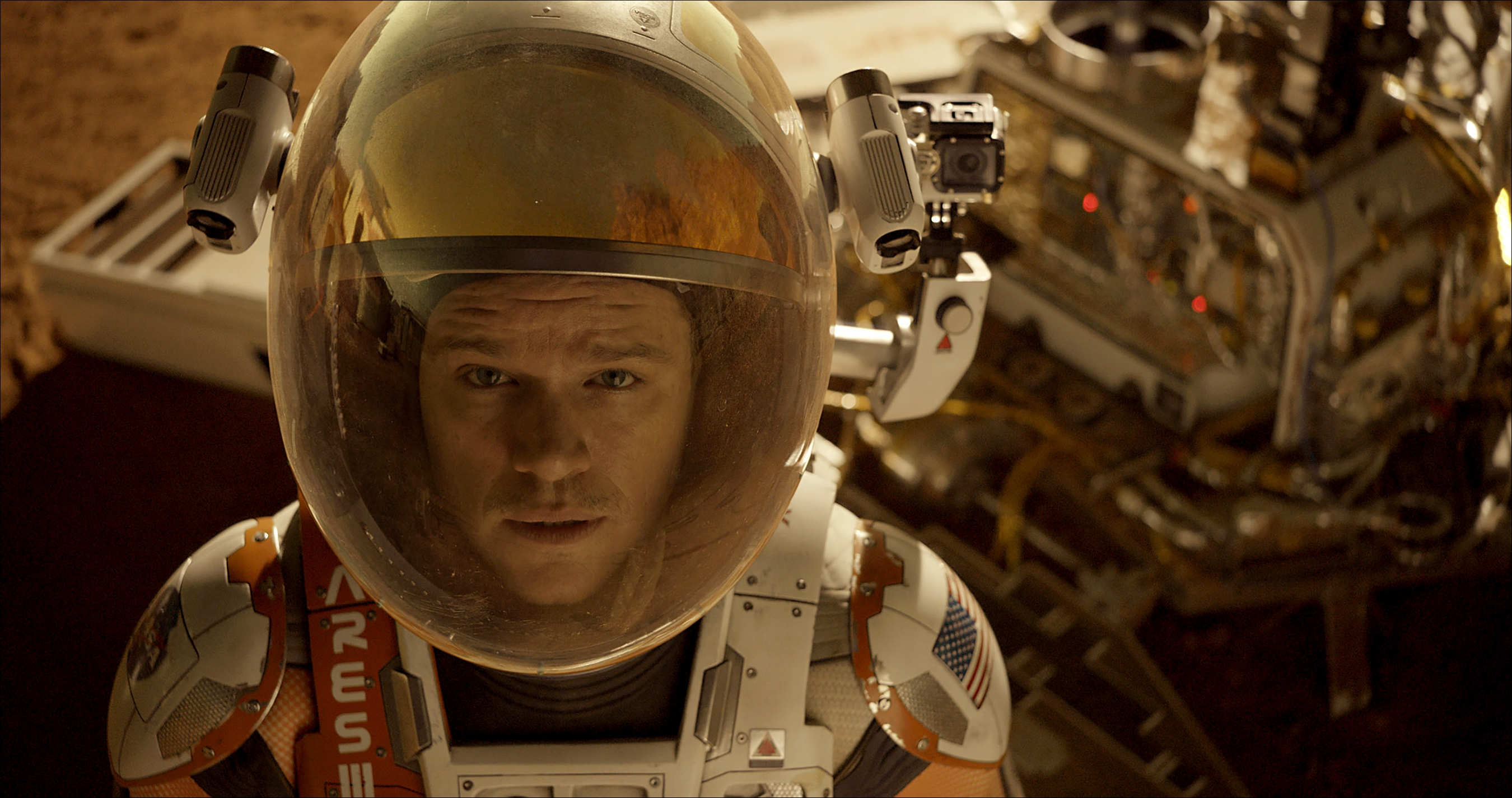 """The Martian"" features a pivotal dust storm shot in-camera using a mix of vermiculite and black paper to double for Mars detritus."