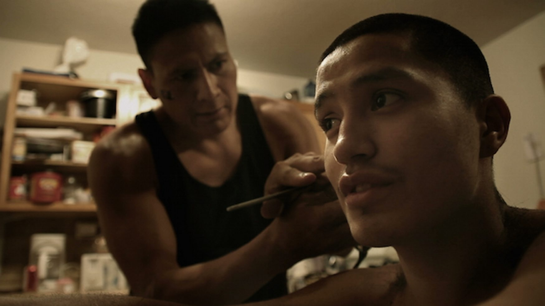 """The documentary """"The Seventh Fire,"""" about the gang crisis in a Native American community, will be shown at the Buffalo International Film Festival. Pictured is Native American gang leader Rob Brown, left, and his protege Kevin Fineday."""