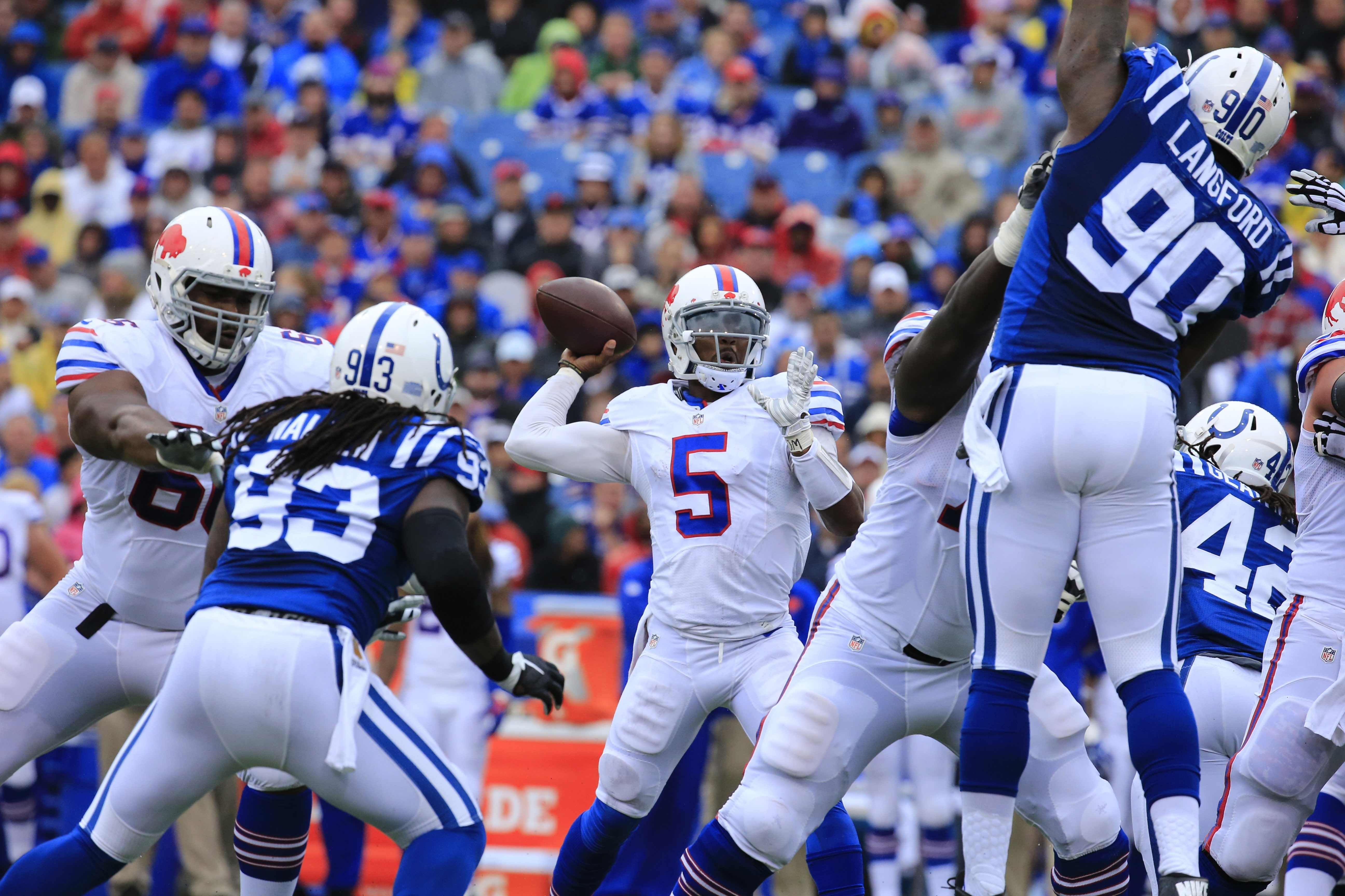 Buffalo Bills quarterback Tyrod Taylor throws against the Indianapolis Colts during the third quarter at Ralph Wilson Stadium on Sunday, Sept. 13, 2015.  (Harry Scull Jr./Buffalo News)